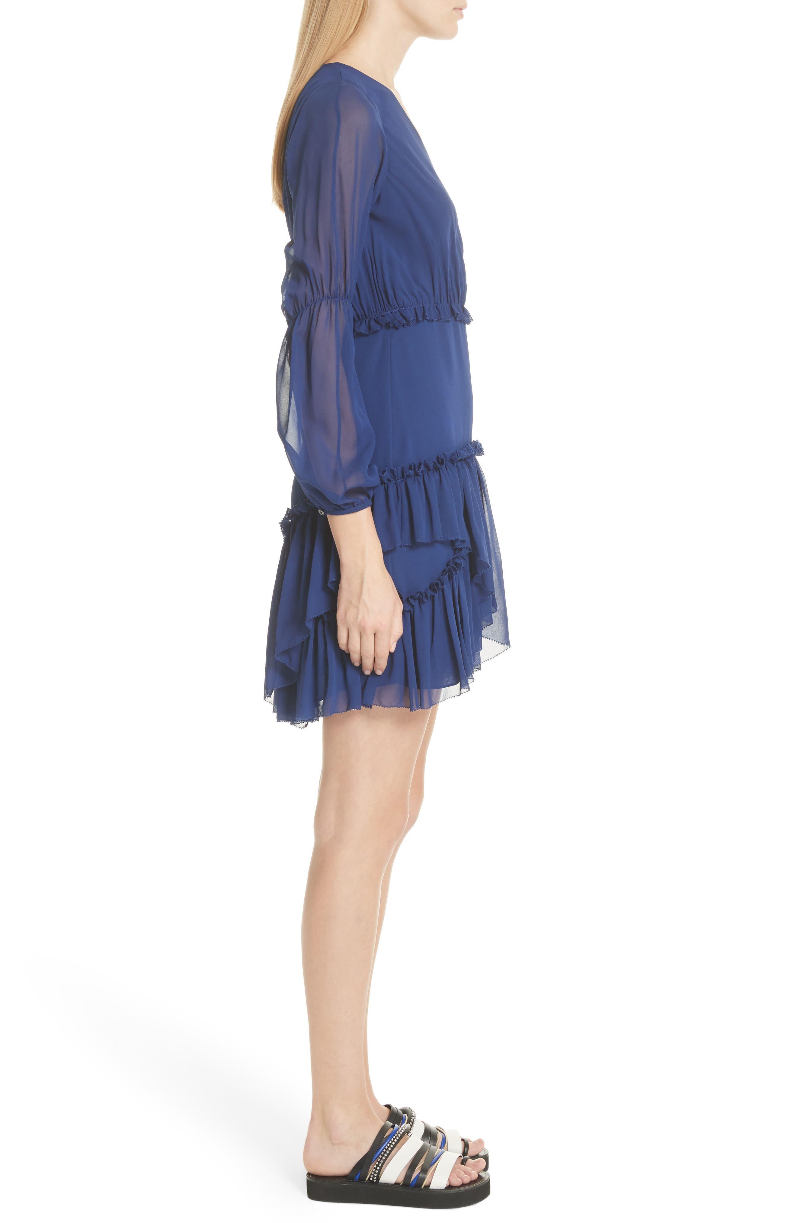 Gathered Silk Dress,                             Alternate thumbnail 3, color,                             Dark Cobalt