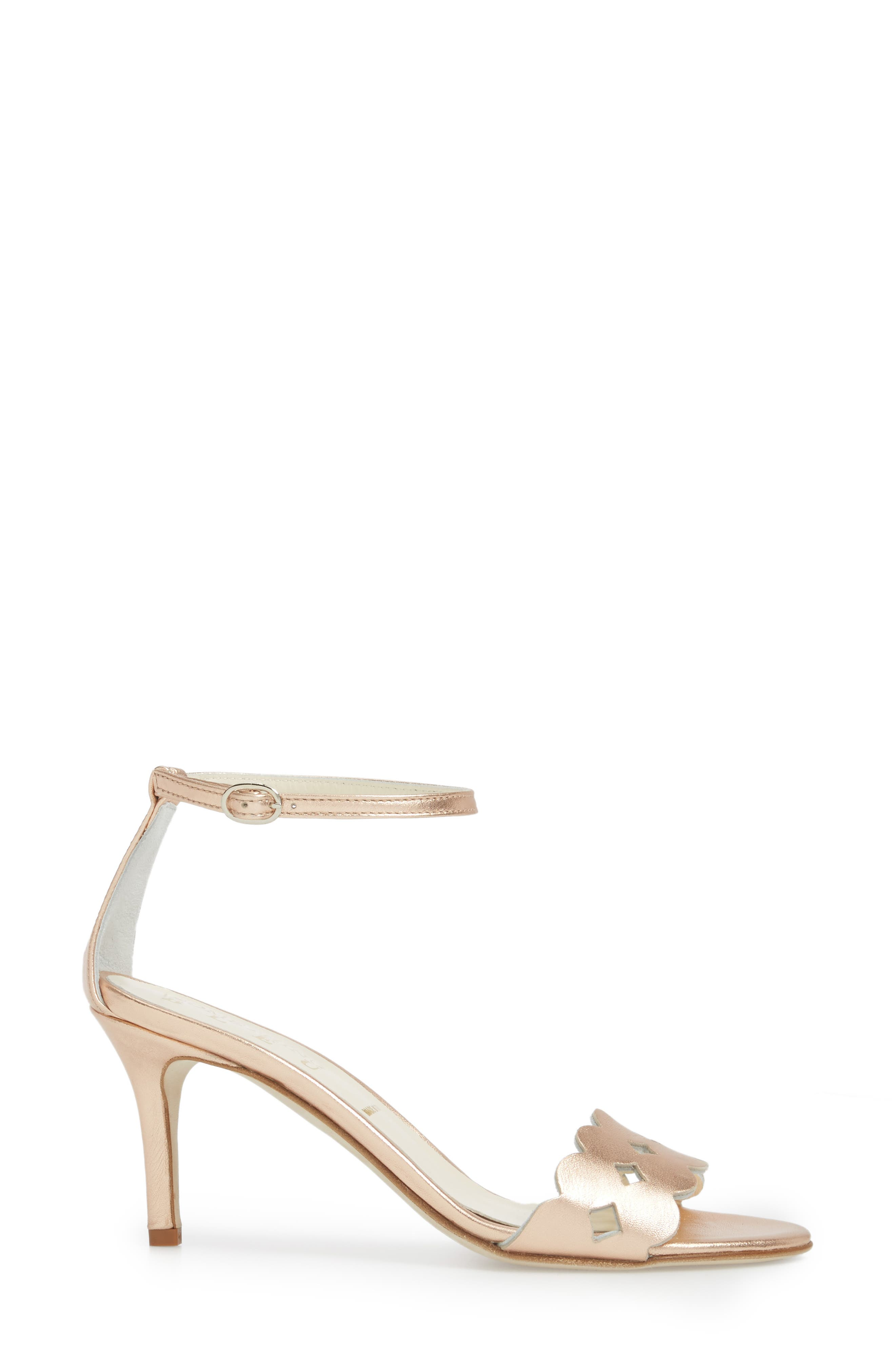 Gina Ankle Strap Sandal,                             Alternate thumbnail 3, color,                             Rose Gold Metallics