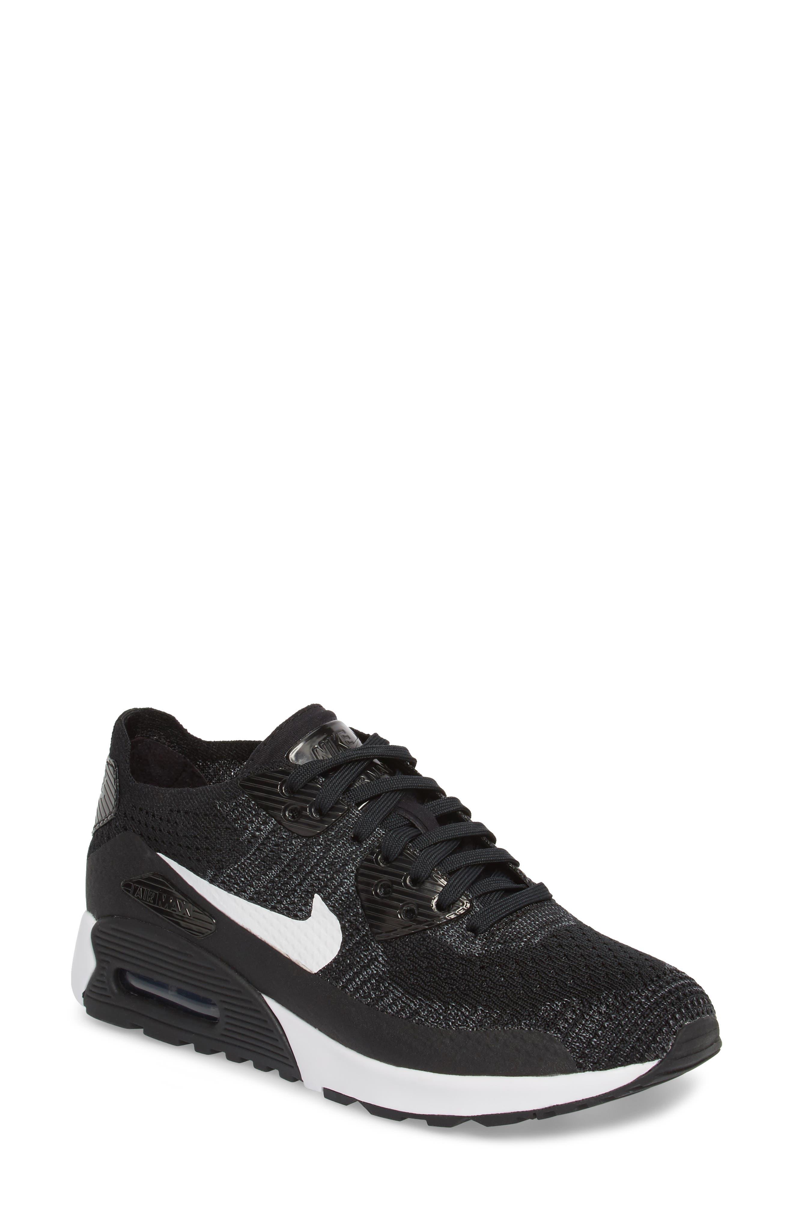 Air Max 90 Flyknit Ultra 2.0 Sneaker,                             Main thumbnail 1, color,                             Black/ White/ Dark Grey