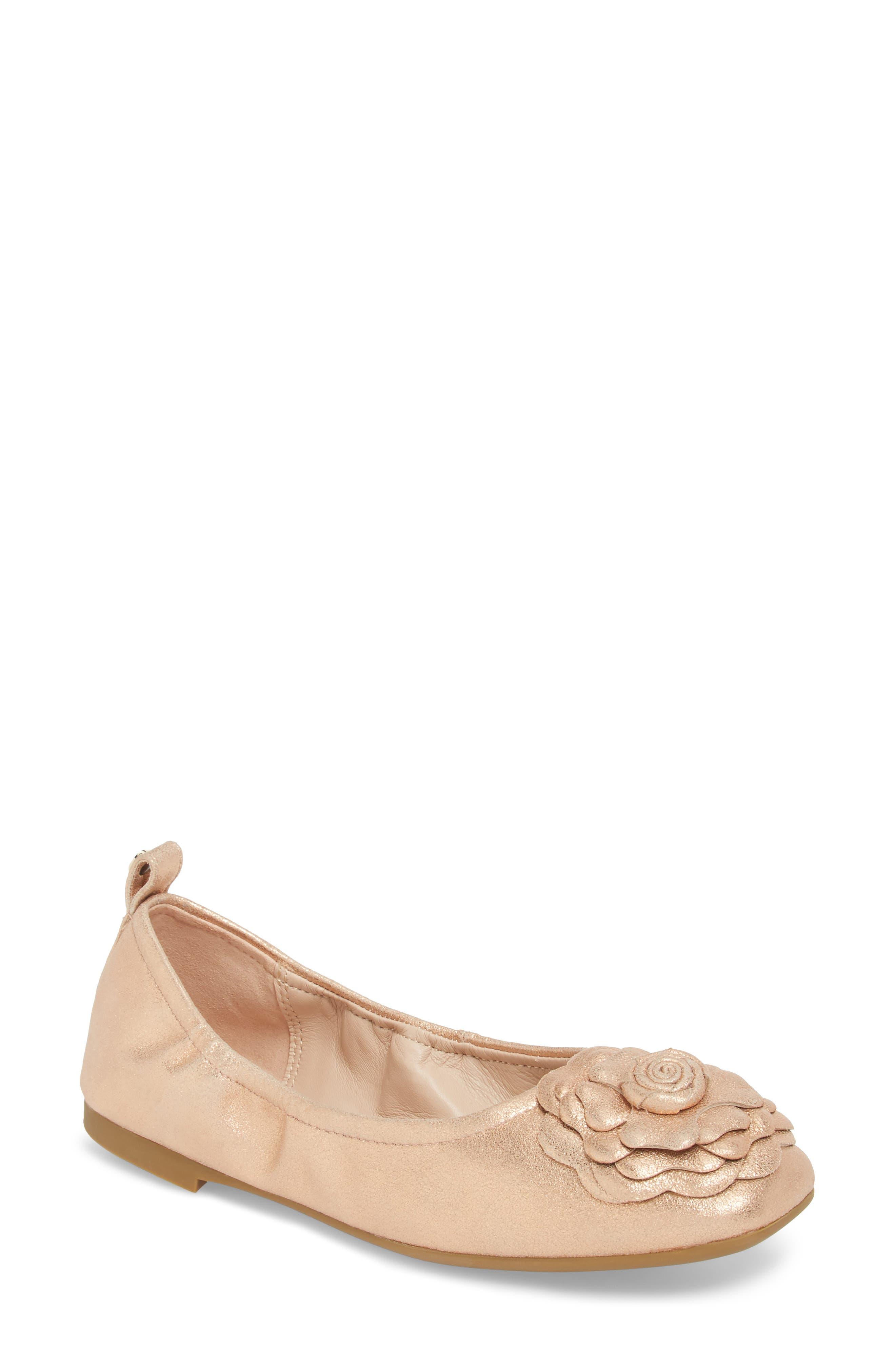 Rosalyn Ballet Flat,                             Main thumbnail 1, color,                             Rose Gold Leather