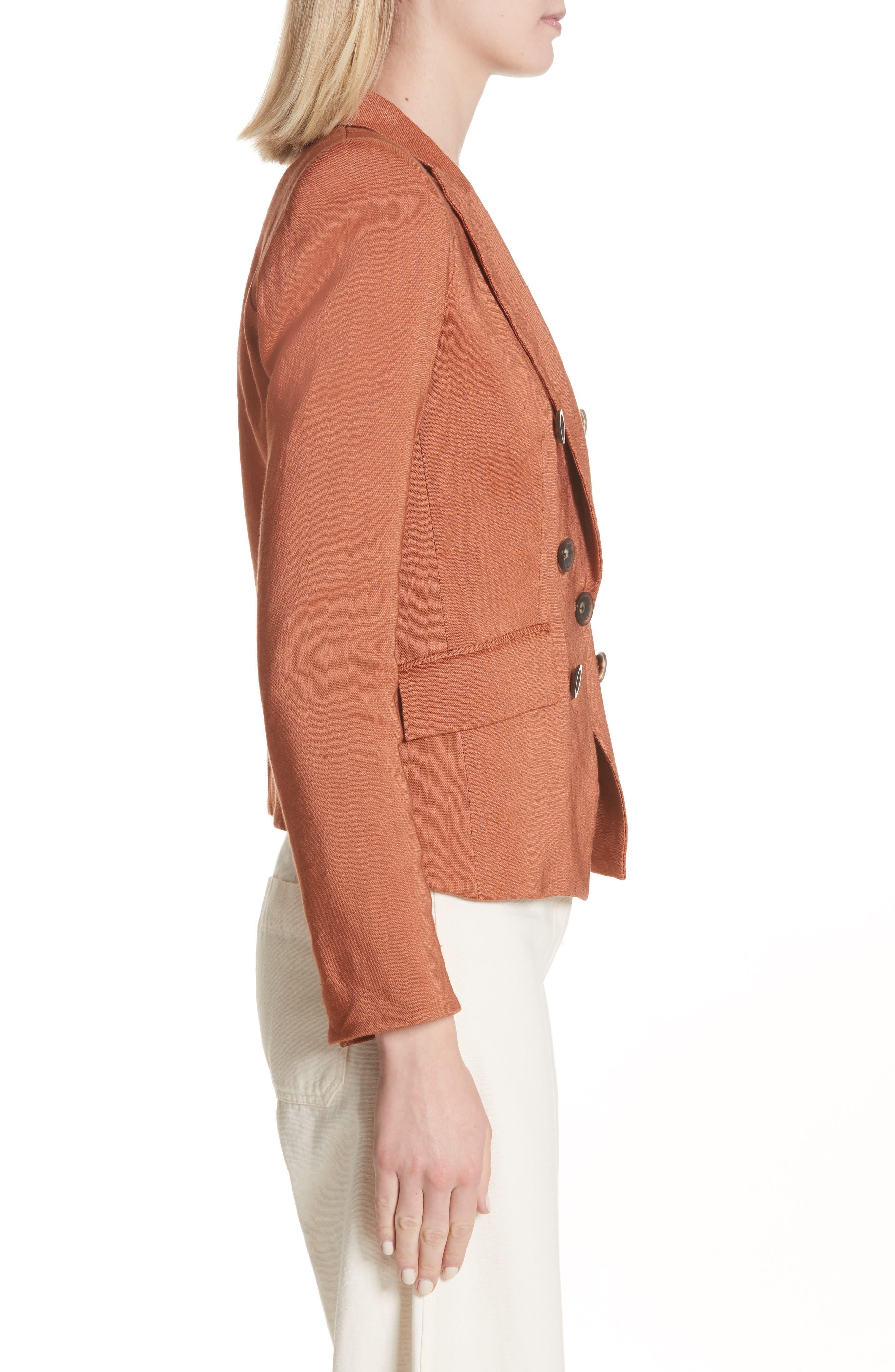 Diego Linen Blend Dickey Jacket,                             Alternate thumbnail 3, color,                             Terracotta