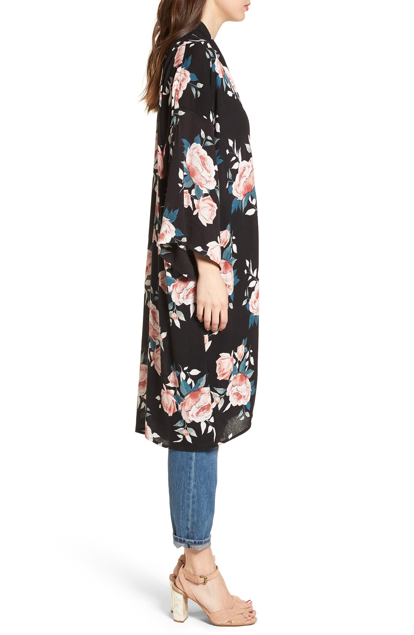 Rose Print Kimono,                             Alternate thumbnail 3, color,                             Black