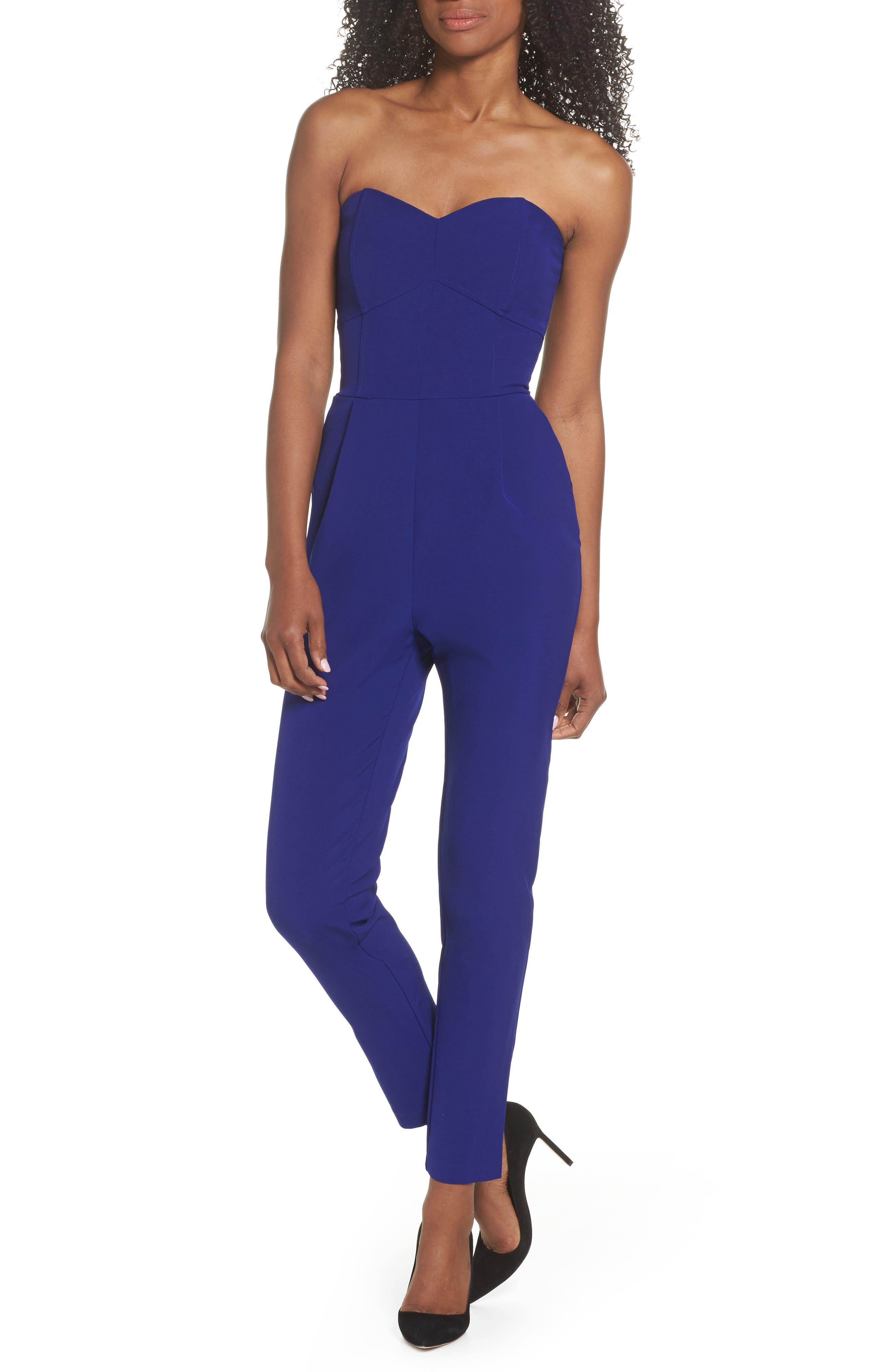 Strapless Jumpsuit,                         Main,                         color, Dark Cobalt