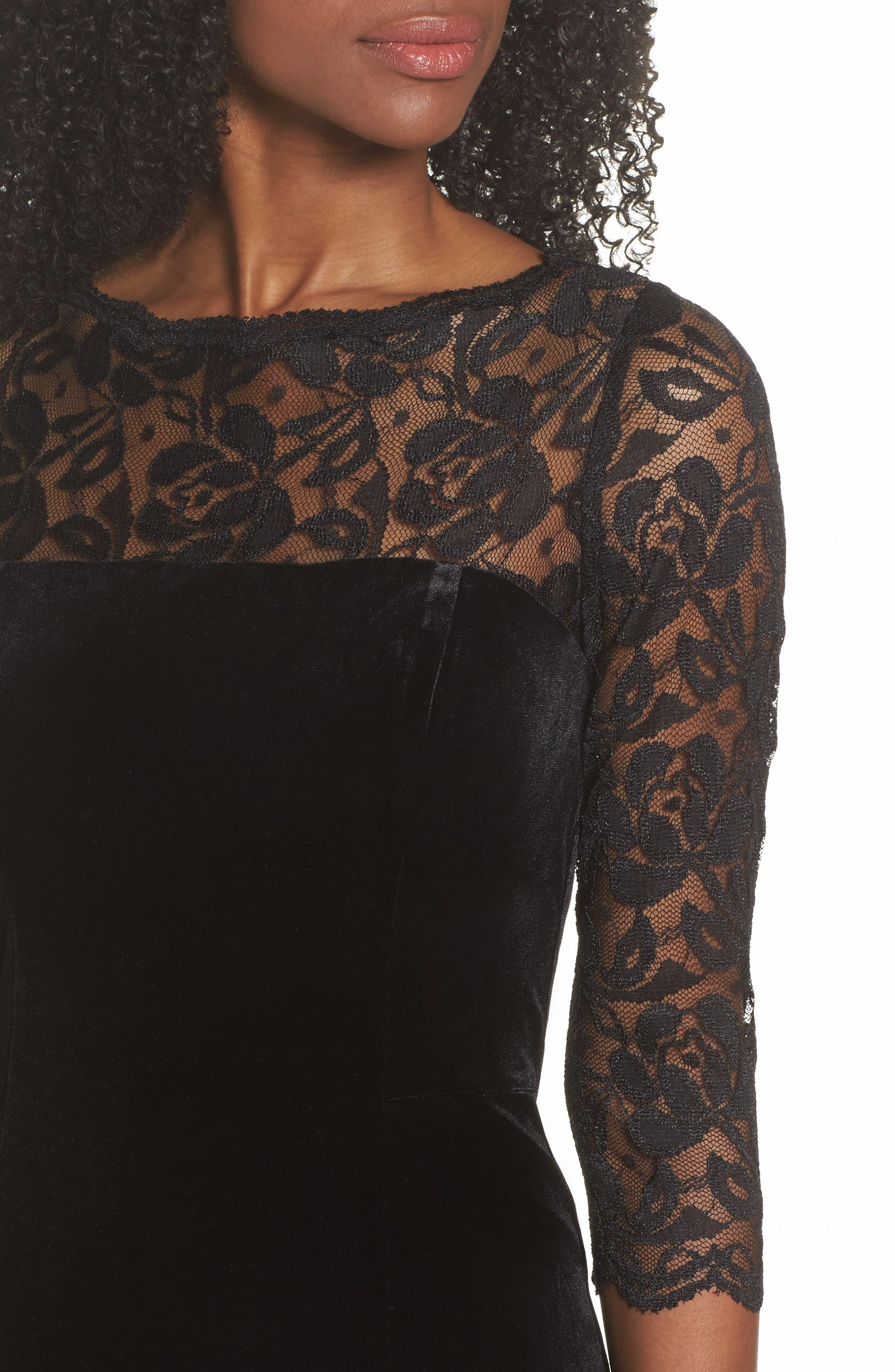Lace & Velvet Sheath Dress,                             Alternate thumbnail 4, color,                             Black