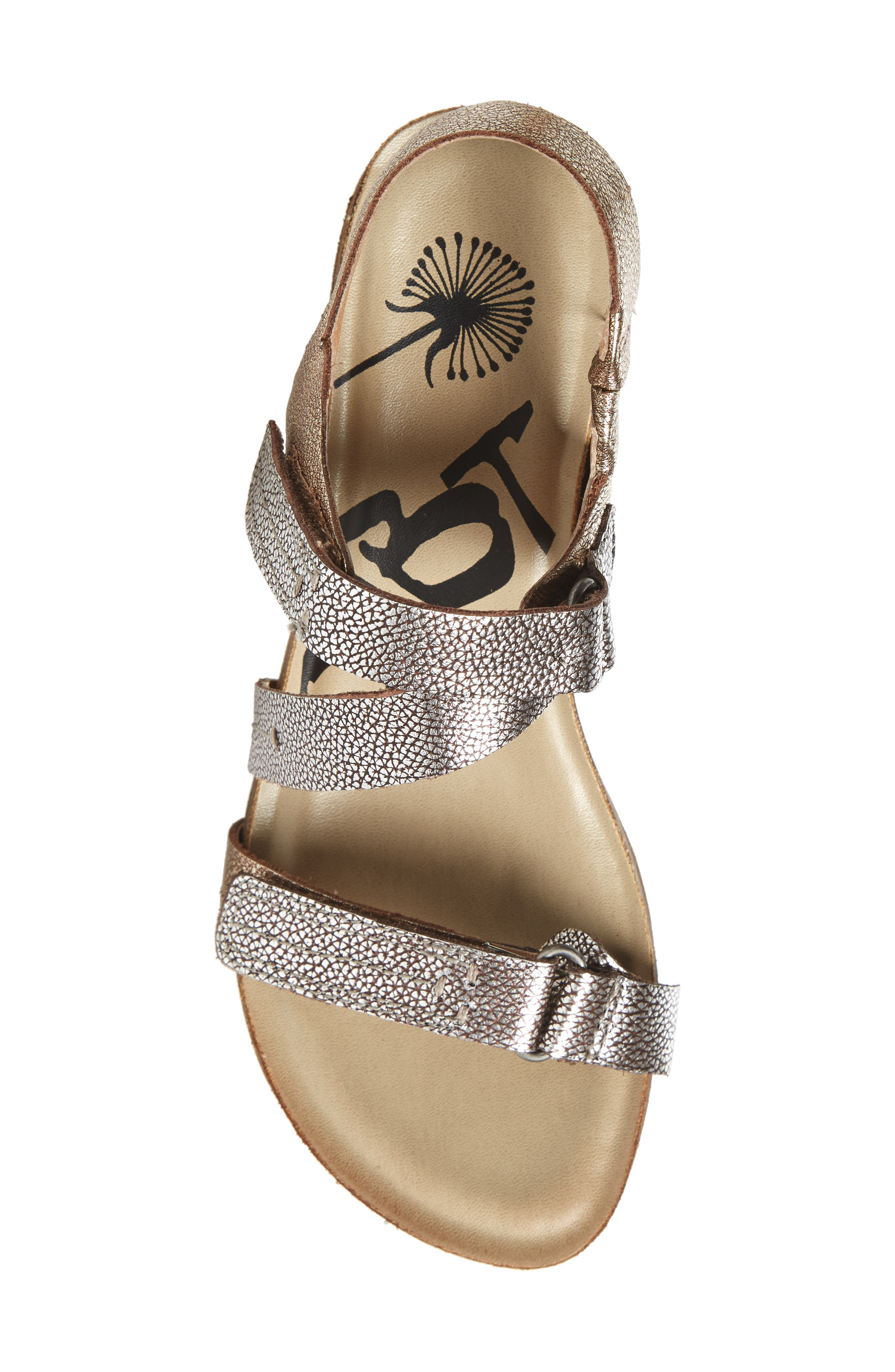 Wavey Wedge Sandal,                             Alternate thumbnail 6, color,                             Gold Leather