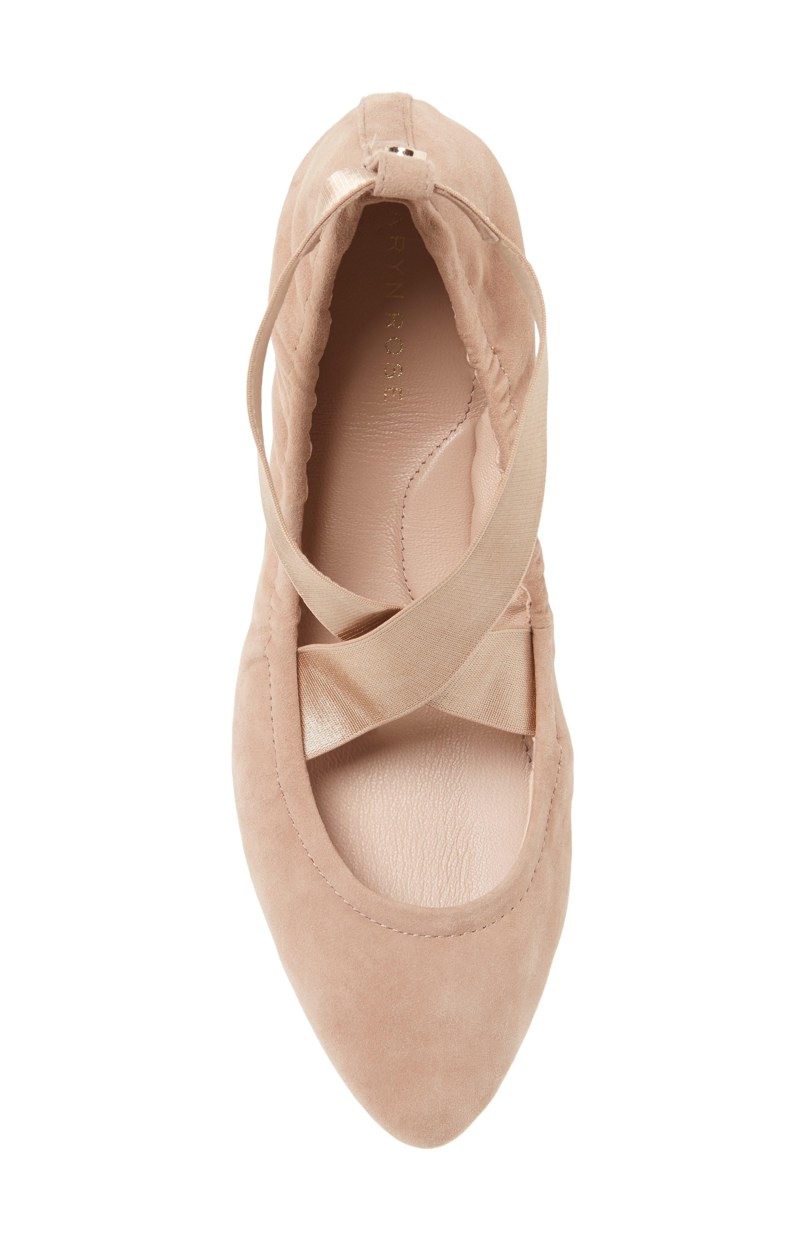 Edina Strappy Ballet Flat,                             Alternate thumbnail 5, color,                             Soft Beige Suede