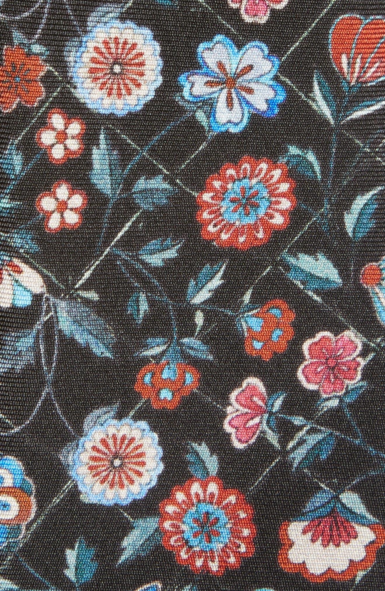 Floral Silk Tie,                             Alternate thumbnail 2, color,                             Black