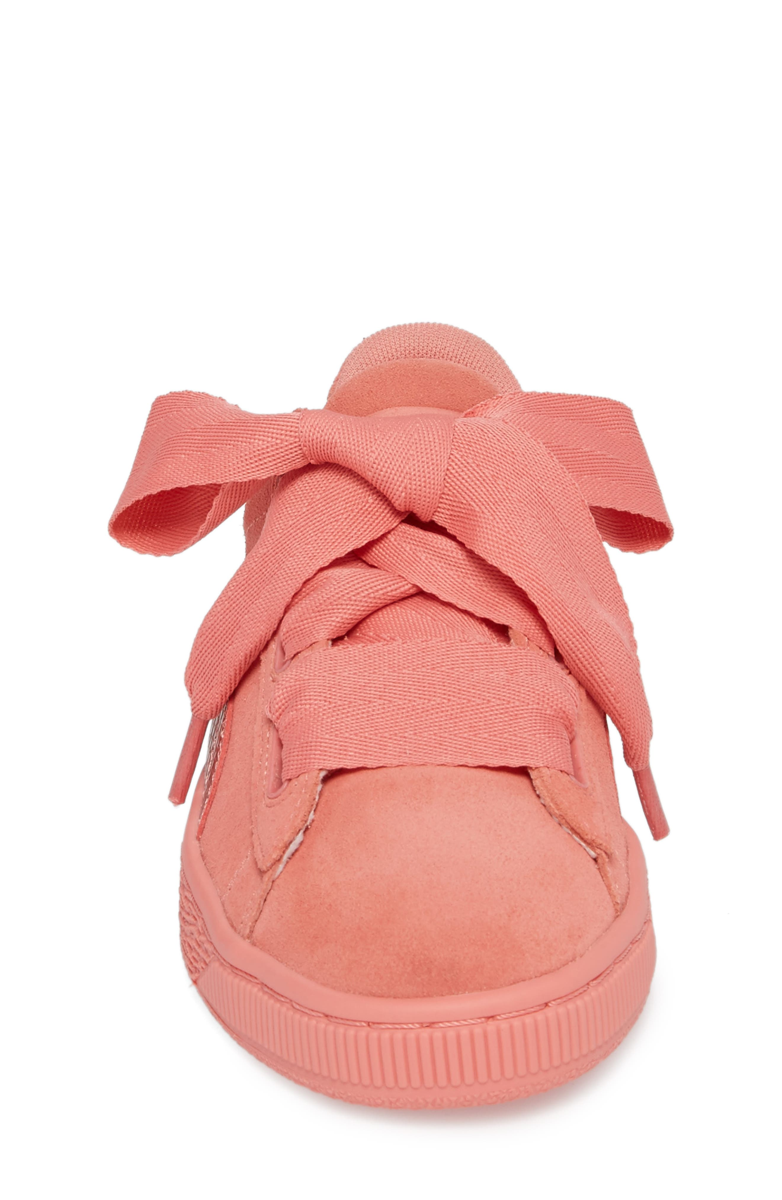Suede Heart Sneaker,                             Alternate thumbnail 4, color,                             Shell Pink/ Shell Pink