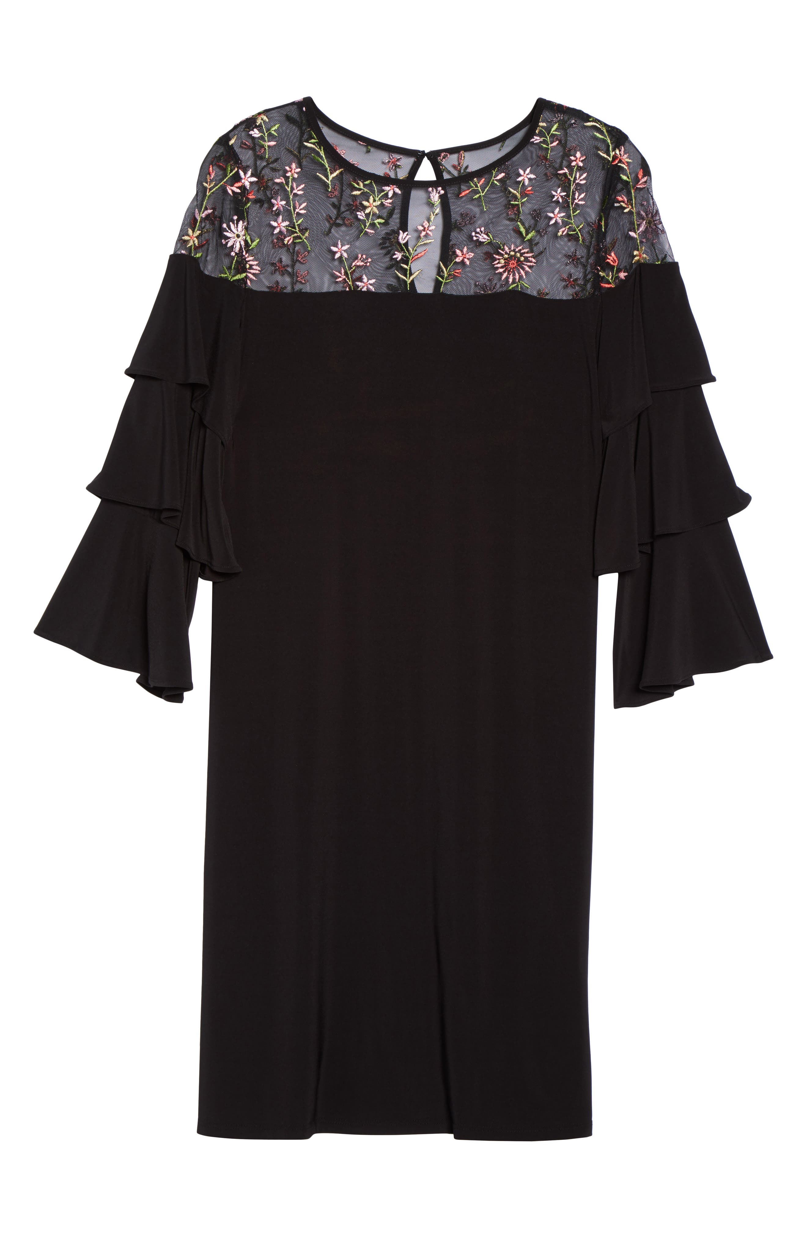 Ruffled Sleeve Embroidered Yoke A-Line Dress,                             Alternate thumbnail 6, color,                             Black/ Coral
