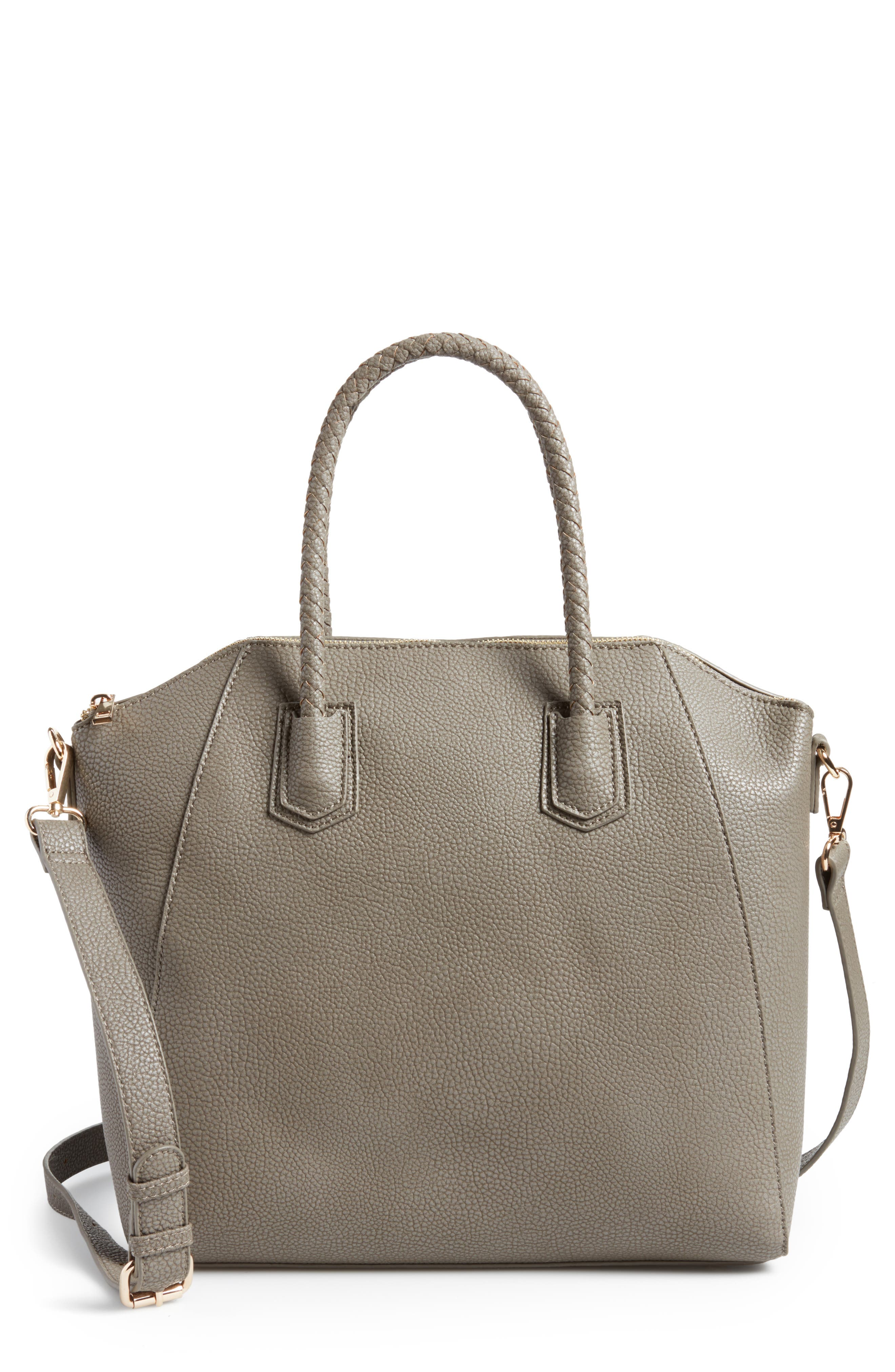 Giada Braided Faux Leather Satchel,                         Main,                         color, Grey