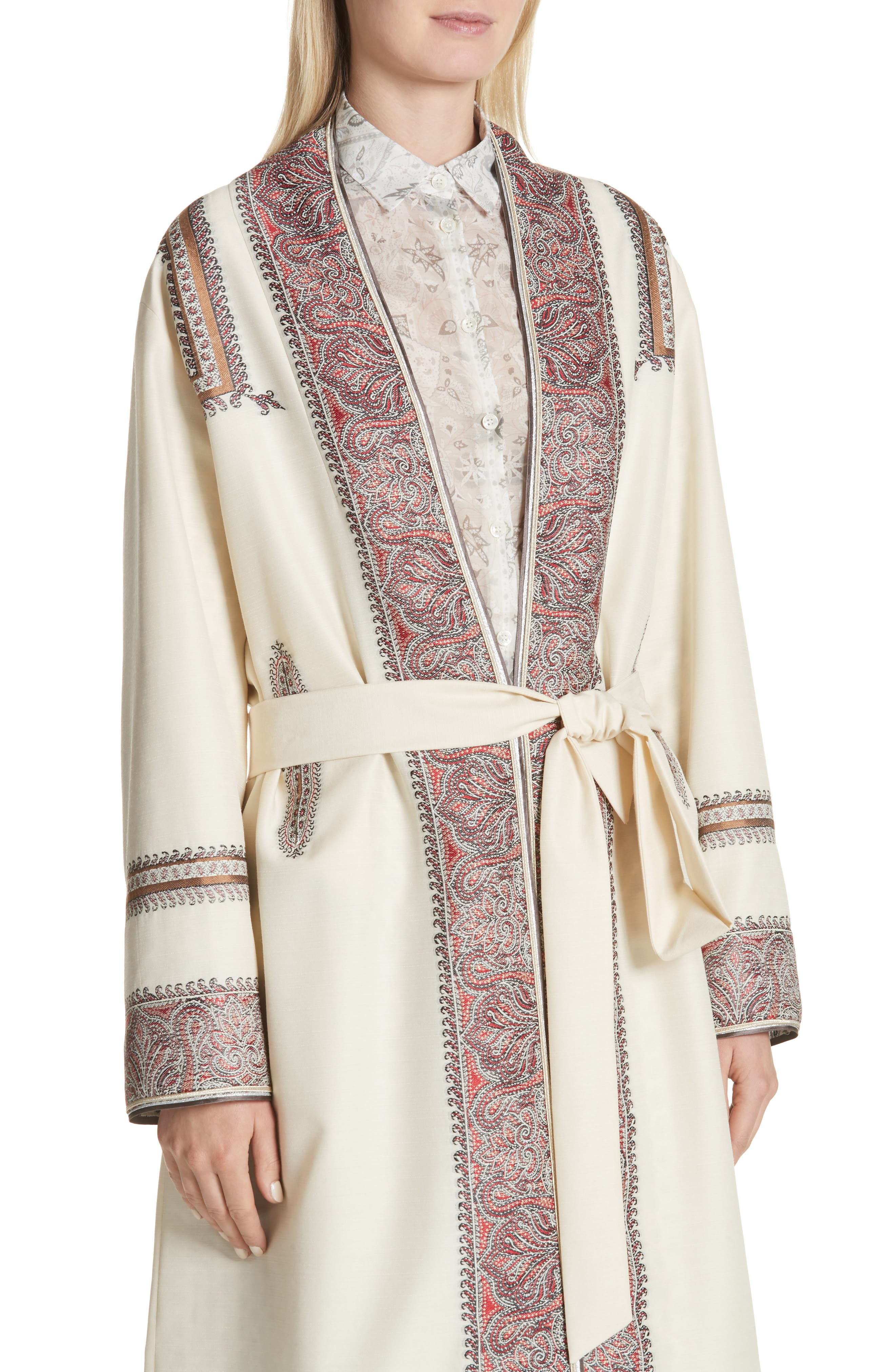Metallic Embroidered Wrap Coat,                             Alternate thumbnail 4, color,                             White