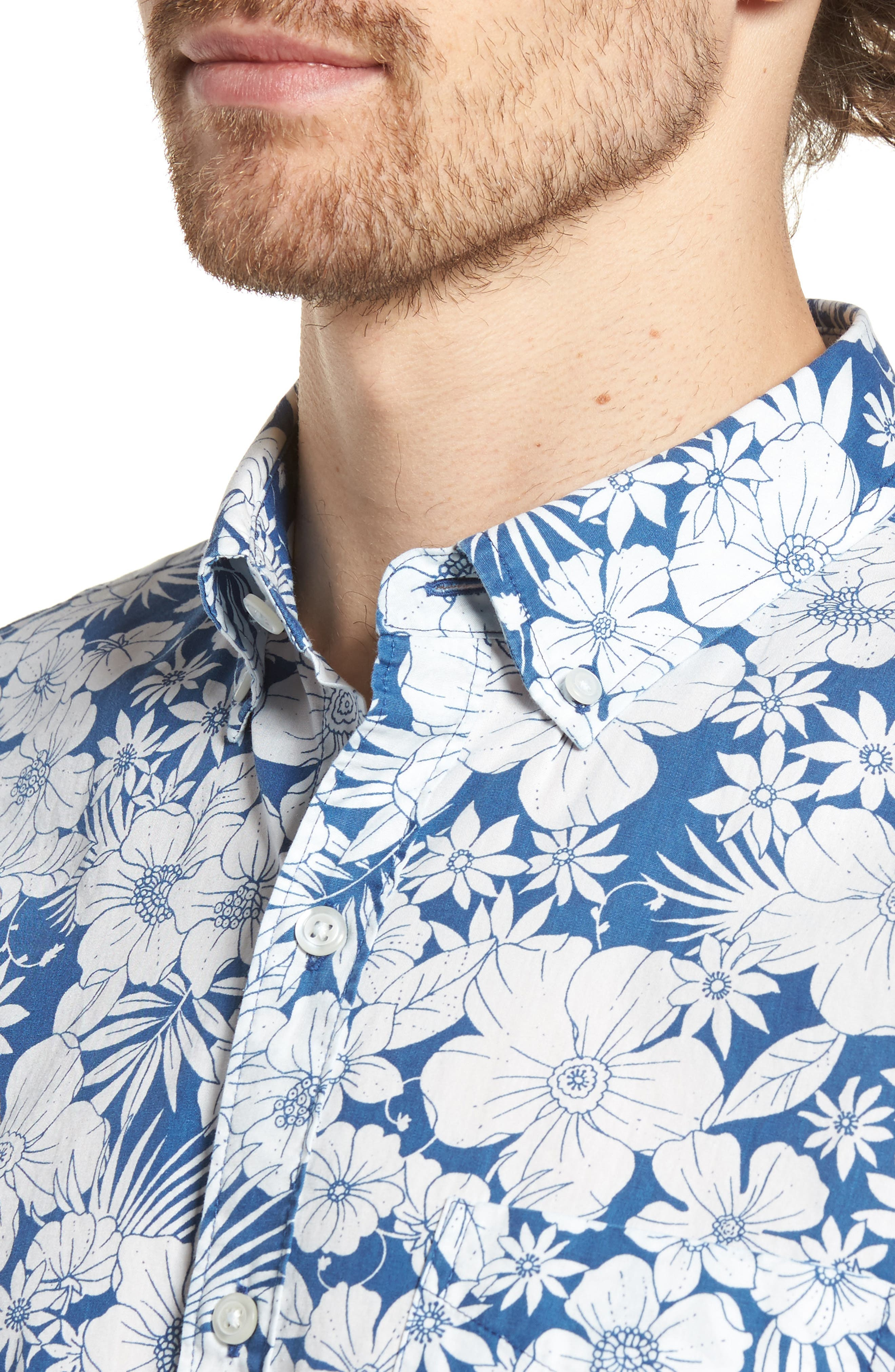 Slim Fit Print Short Sleeve Sport Shirt,                             Alternate thumbnail 2, color,                             Harland Floral - Maritime Blue