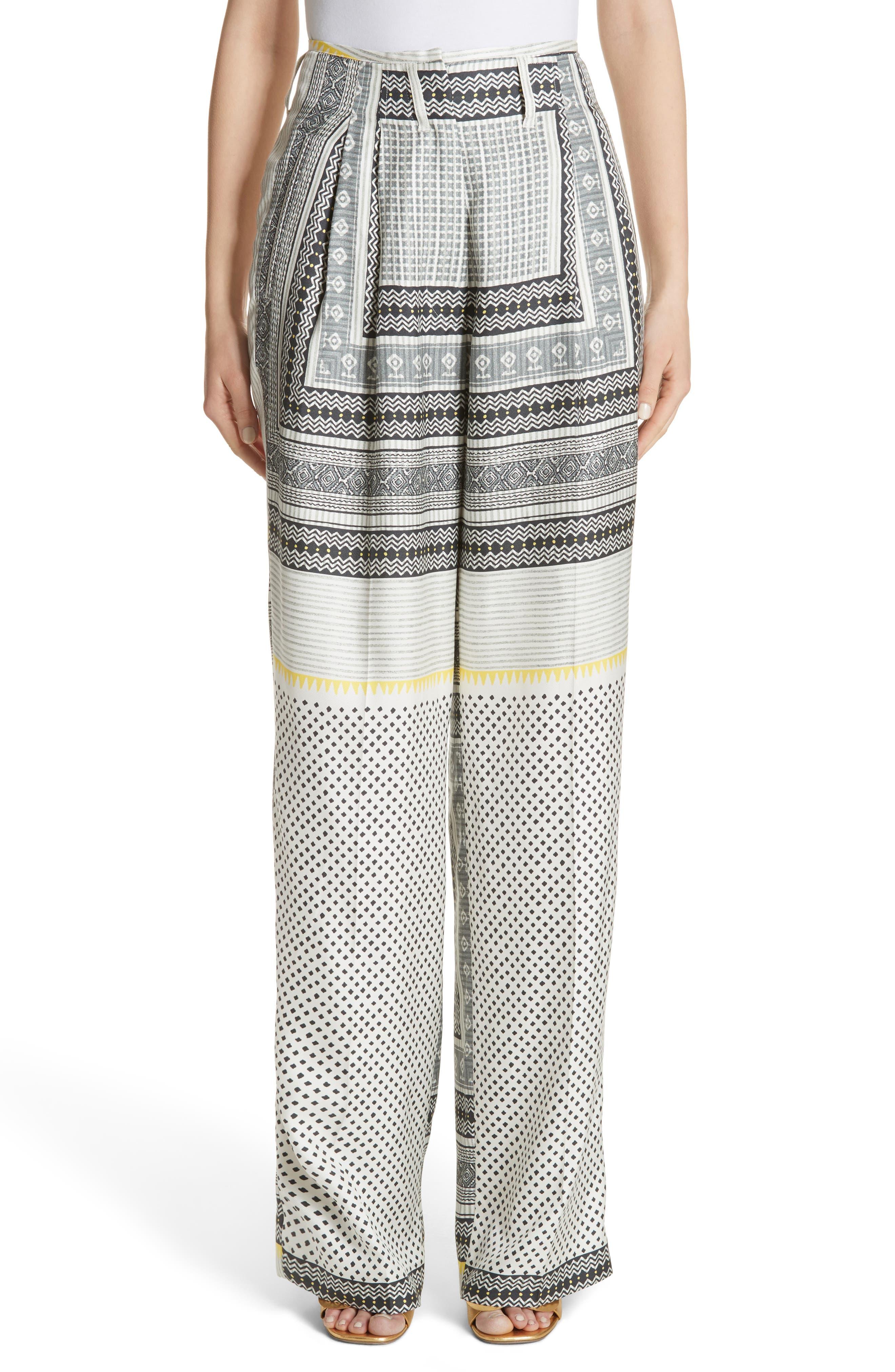 High Waist Silk Twill Pants,                         Main,                         color, White
