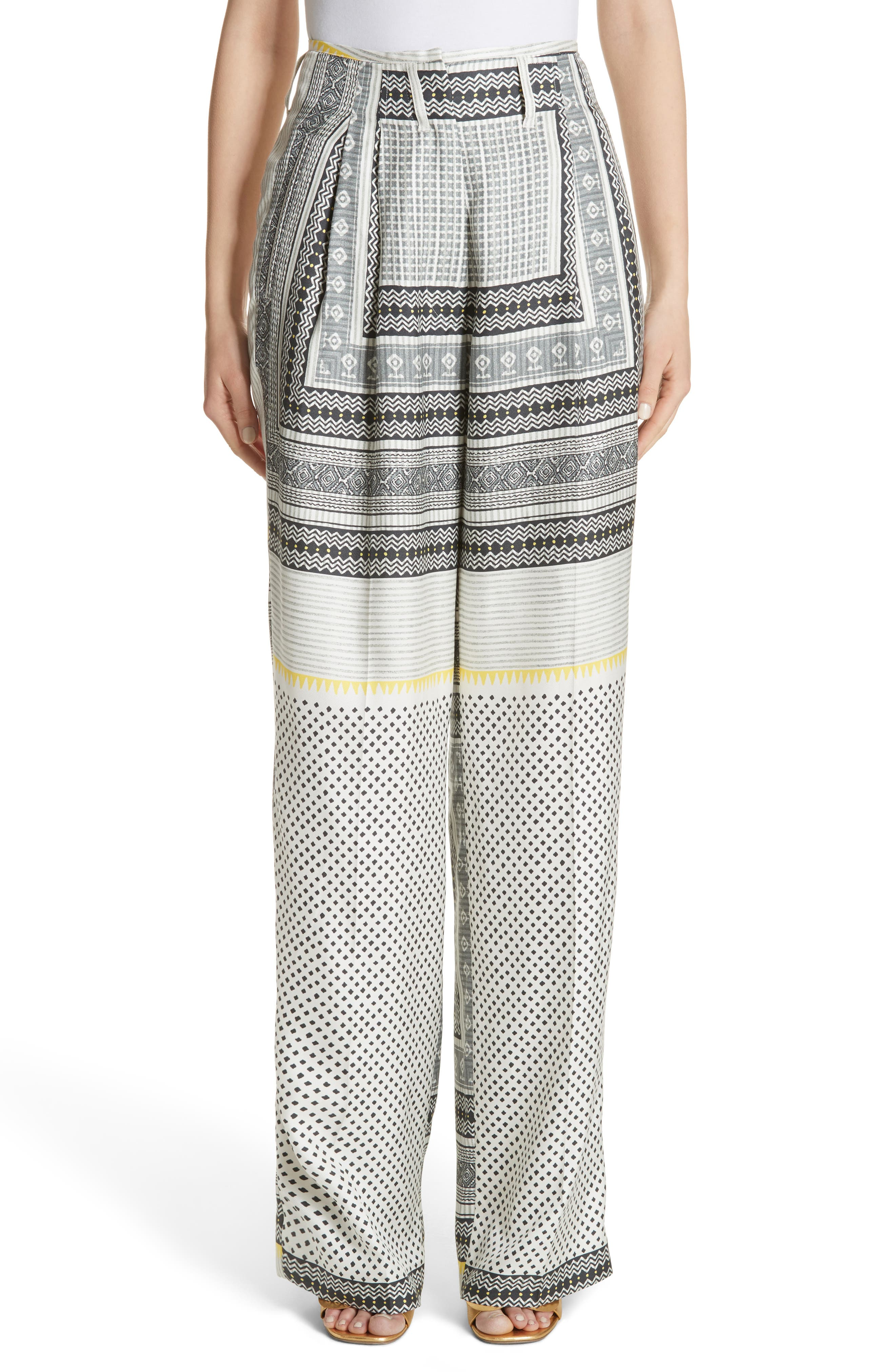 Etro High Waist Silk Twill Pants