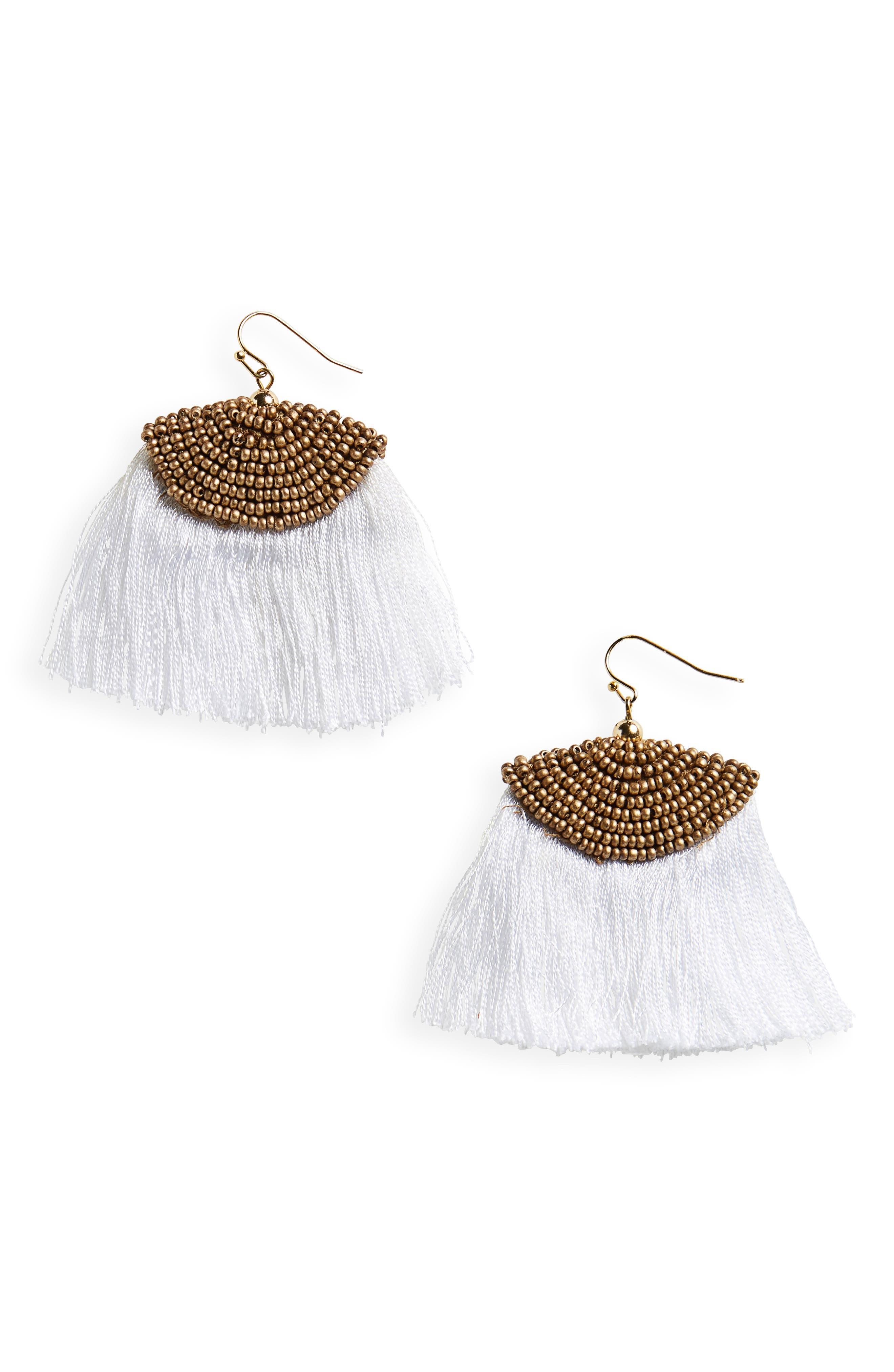 Fan Tassel Earrings,                         Main,                         color, Ivory/ Gold