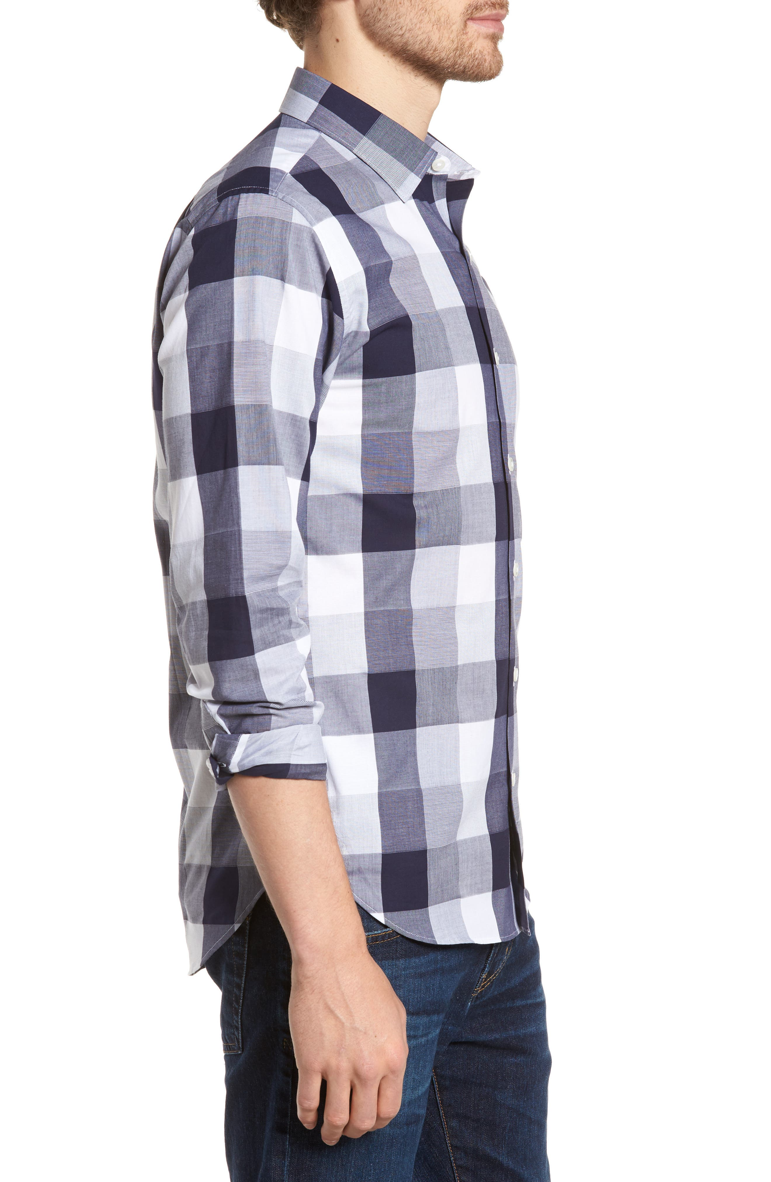 Unbutton Down 2.0 Slim Fit Buffalo Check Sport Shirt,                             Alternate thumbnail 4, color,                             Thomas Check - Maritime Blue