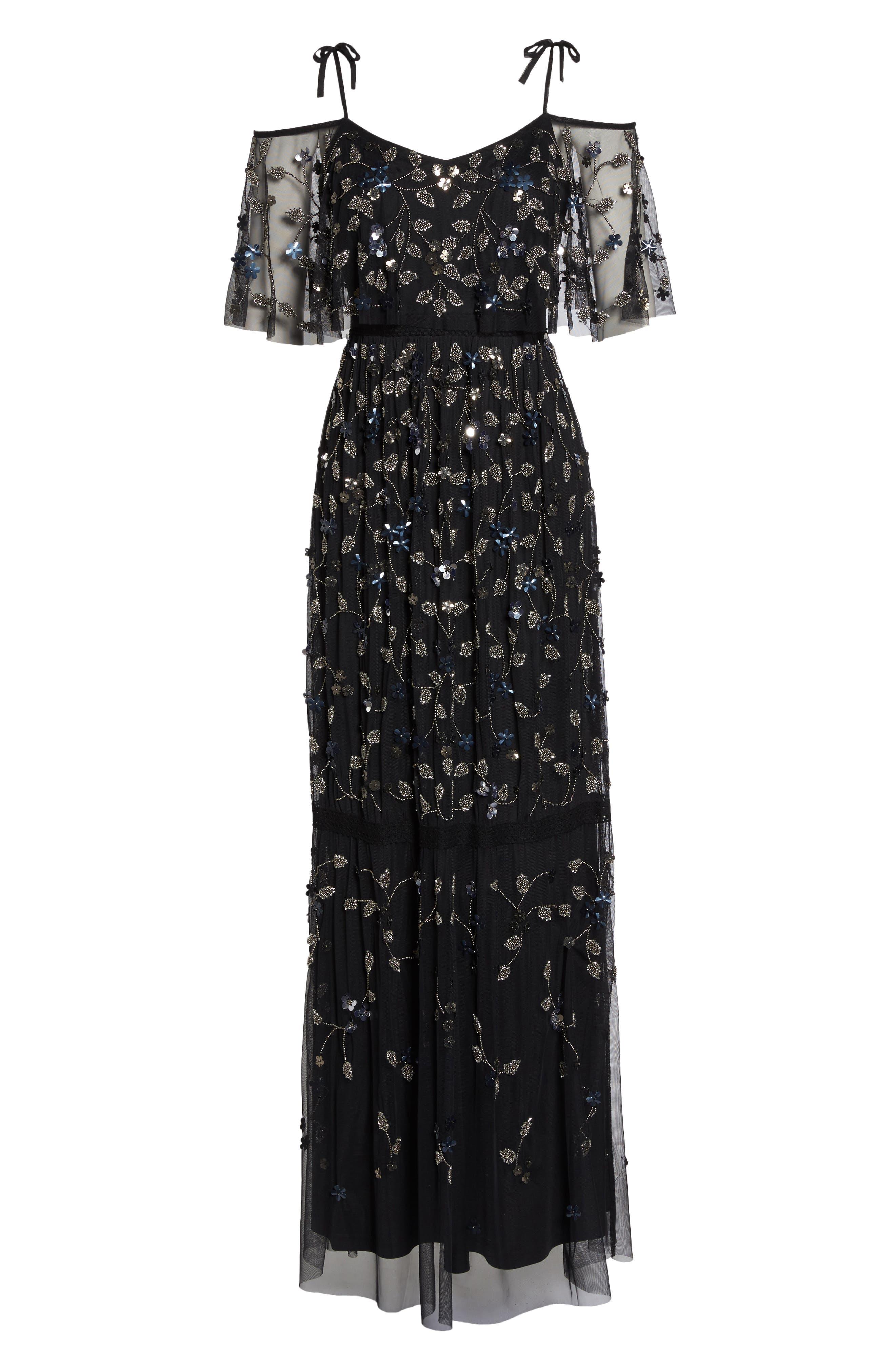 Beaded Cold Shoulder Gown,                             Alternate thumbnail 6, color,                             Black Multi