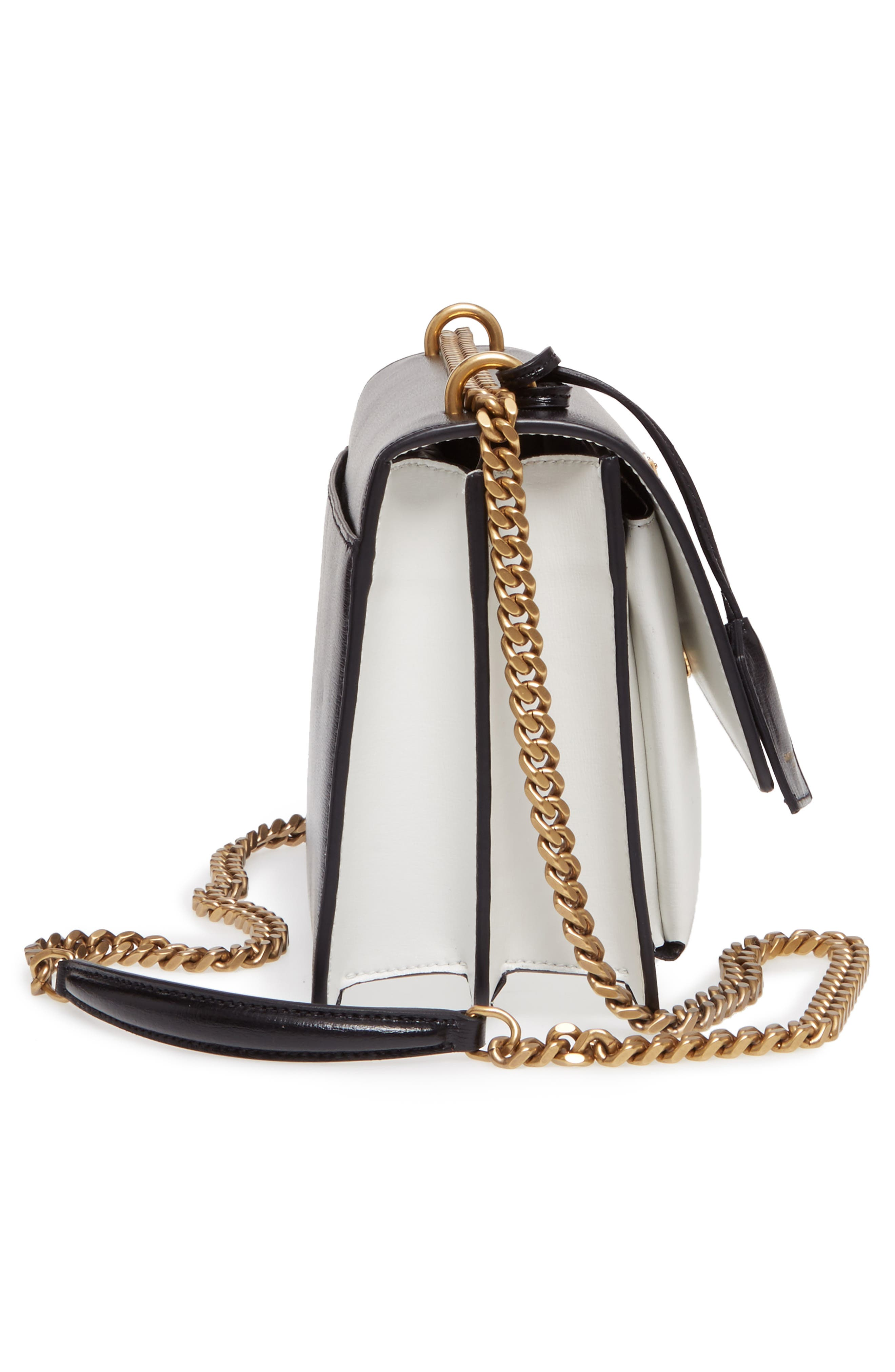 Medium Sunset Leather Shoulder Bag,                             Alternate thumbnail 4, color,                             Black/ White