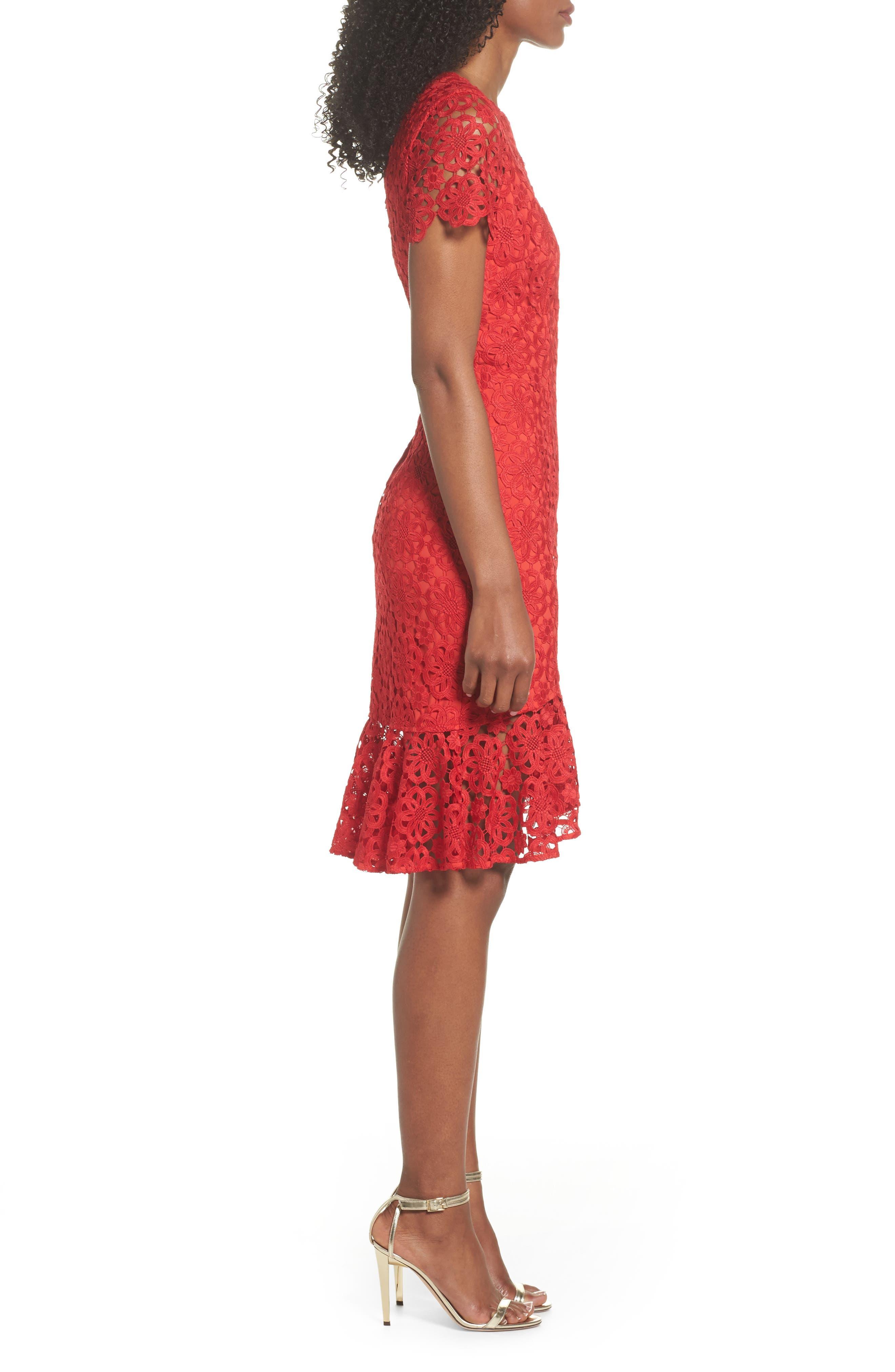 Ruffle Hem Lace Sheath Dress,                             Alternate thumbnail 4, color,                             Red