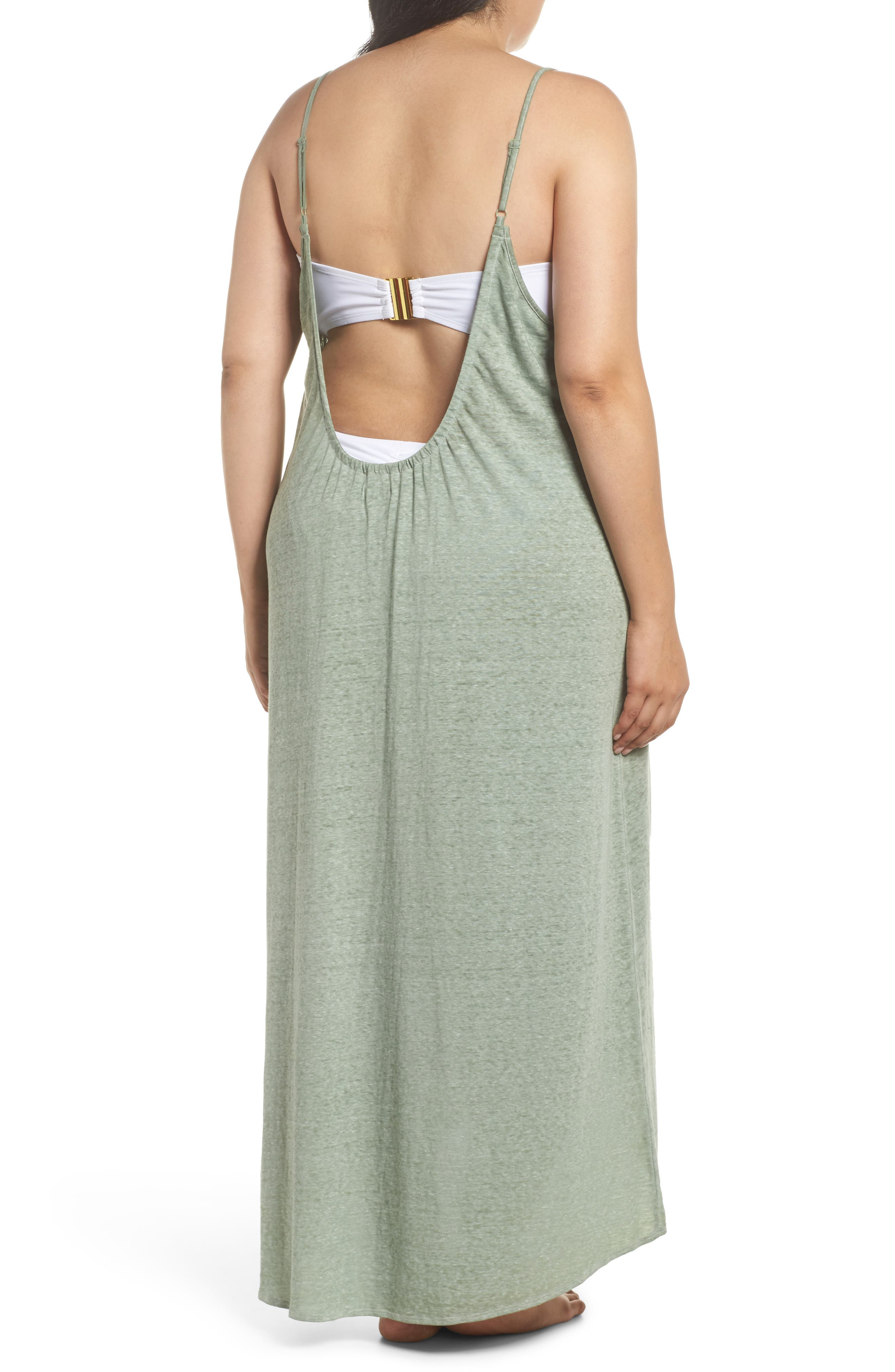Maxi Cover-Up Dress,                             Alternate thumbnail 2, color,                             Green Dune