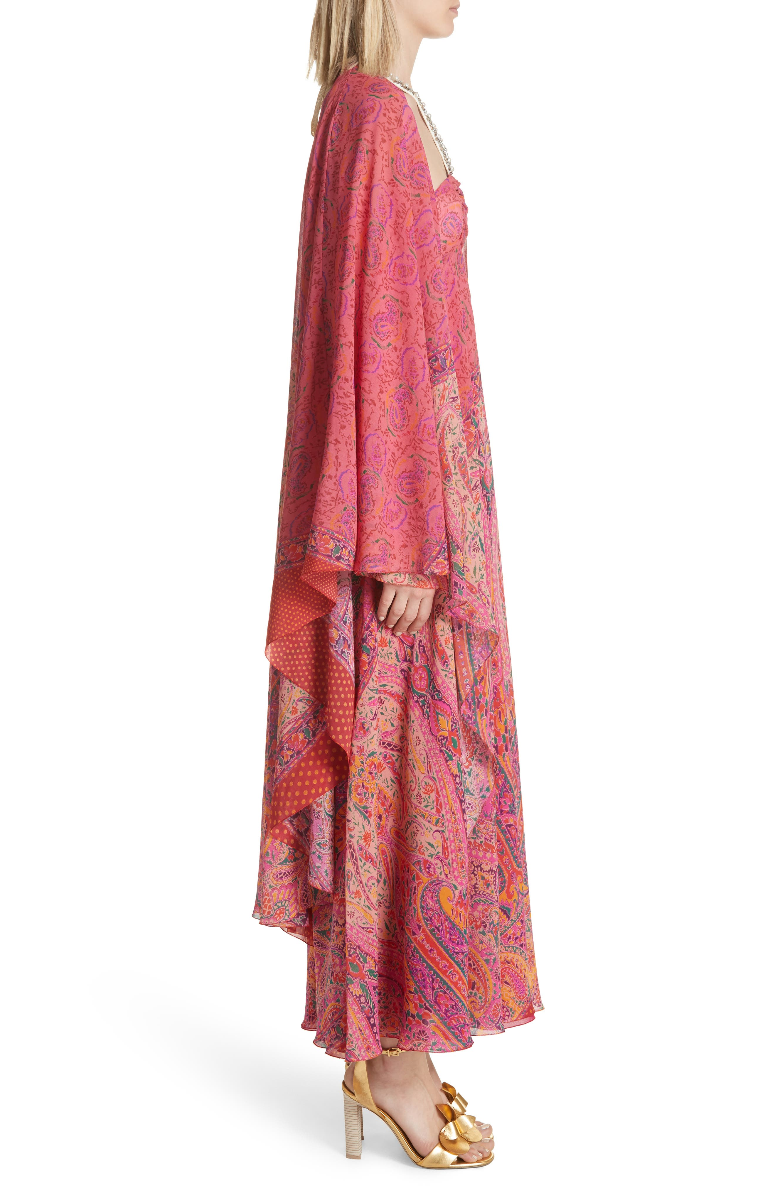Beaded Halter Neck Silk Maxi Dress with Cape,                             Alternate thumbnail 3, color,                             Pink