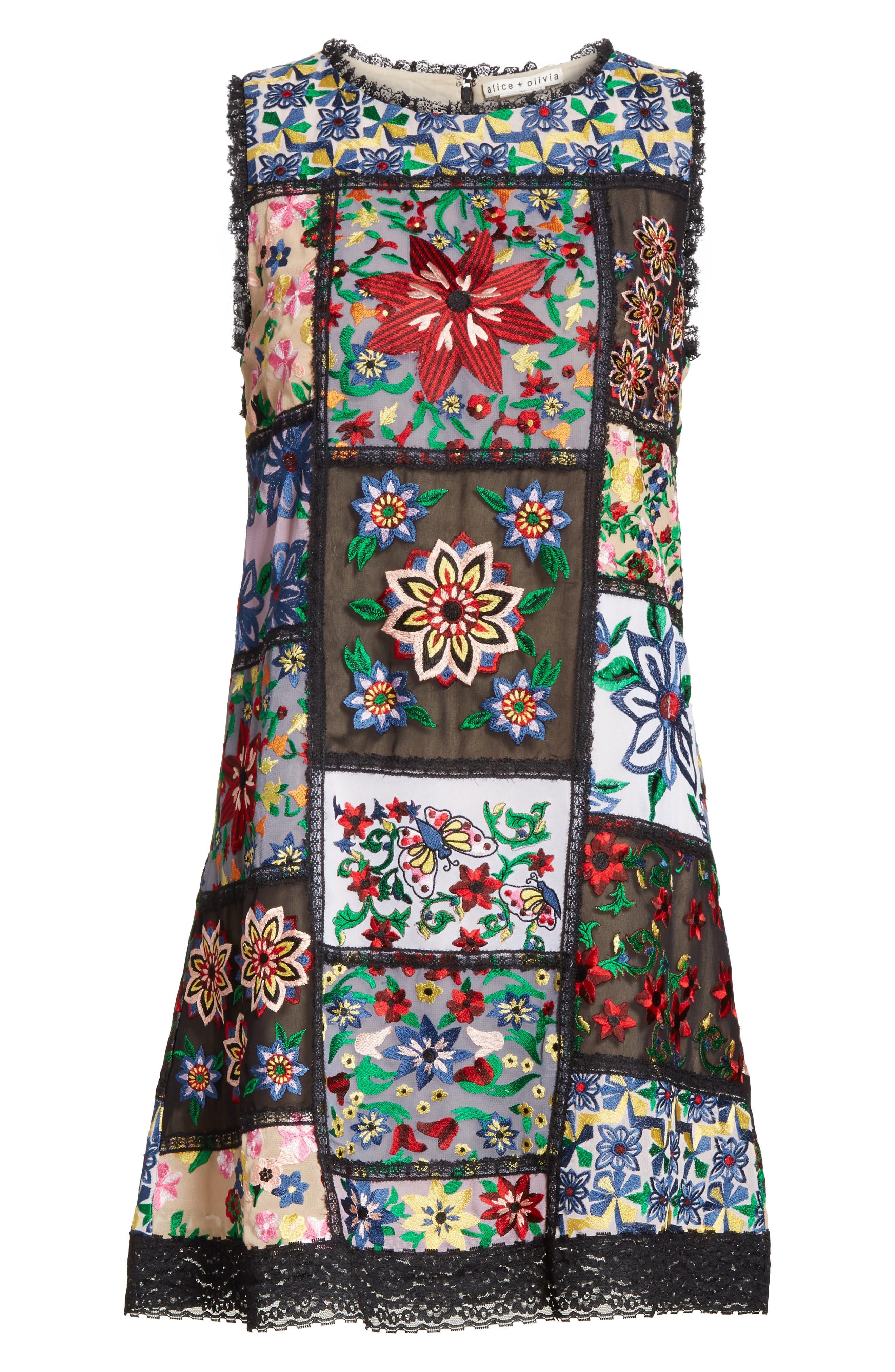 Marcelina Embroidered Mini Dress,                             Alternate thumbnail 6, color,                             Multi