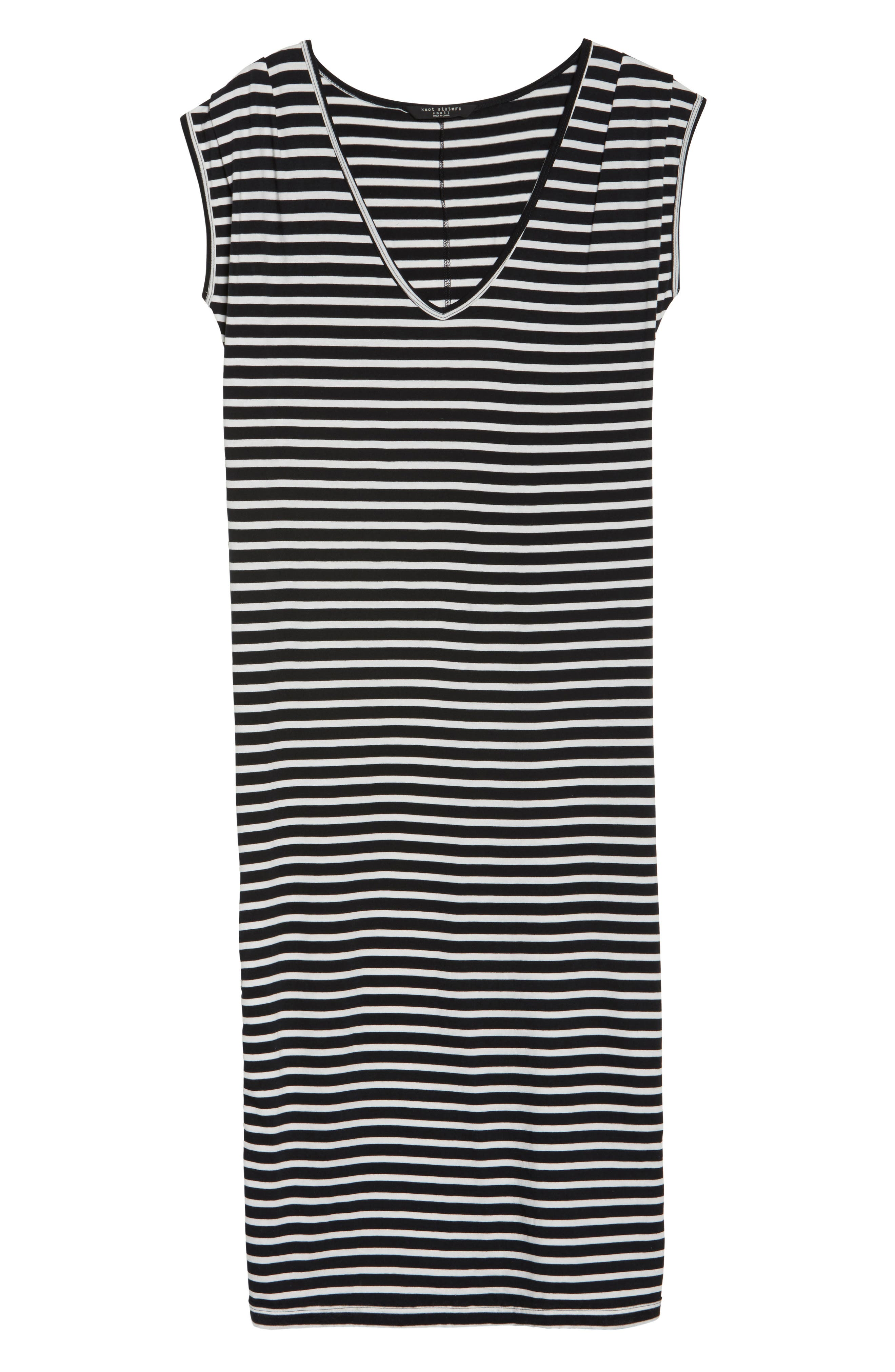 Solana Stripe Knit Midi Dress,                             Alternate thumbnail 6, color,                             Black White Stripe