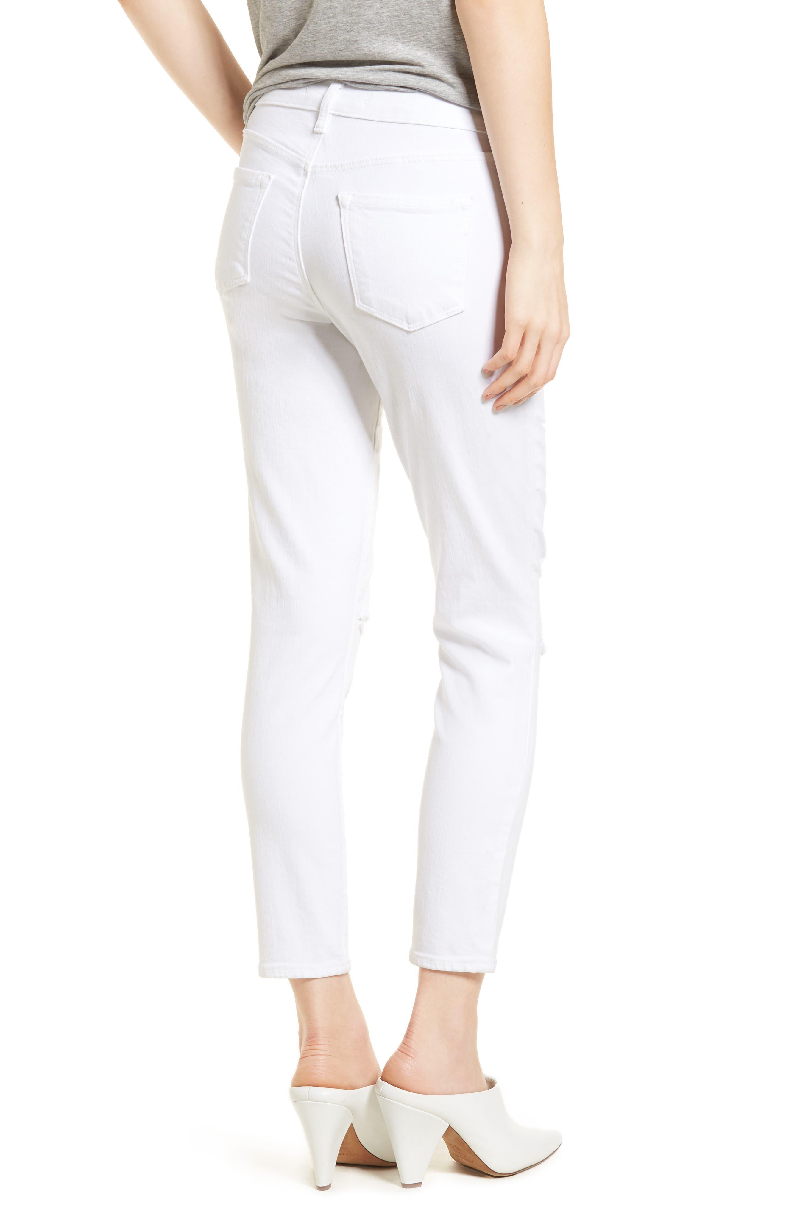 Mid-Rise Capri Skinny Jeans,                             Alternate thumbnail 2, color,                             White Mercy