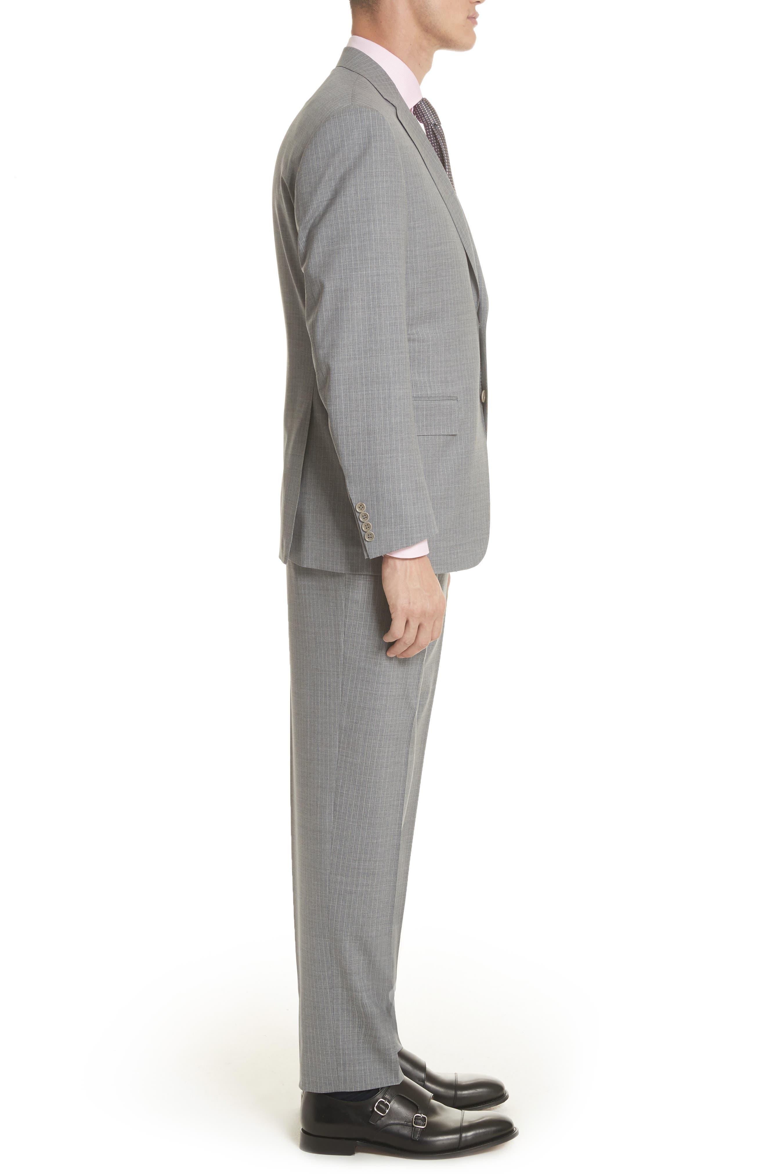 Classic Fit Stripe Wool Suit,                             Alternate thumbnail 5, color,                             Grey