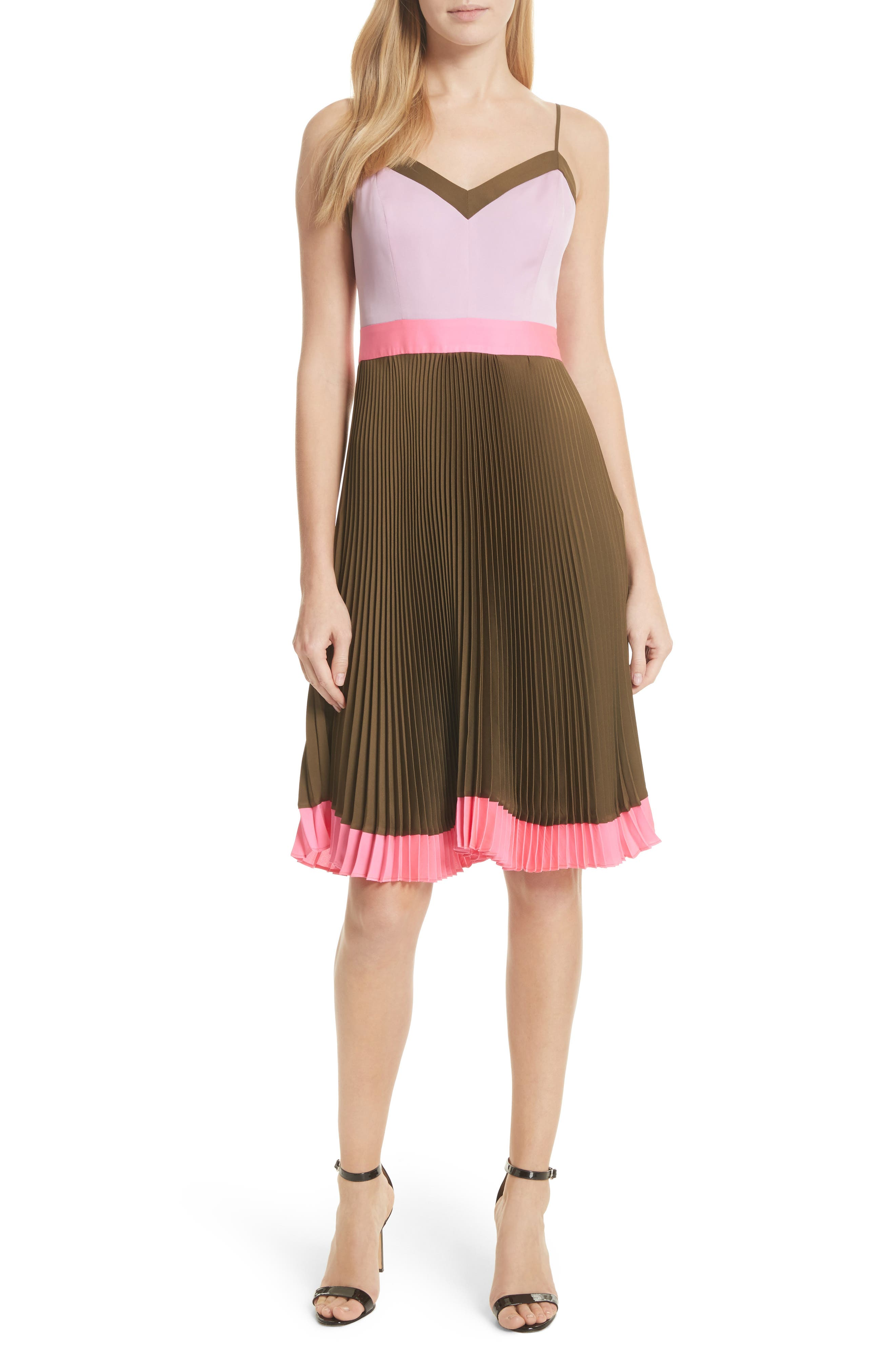 Jill Pleated Stretch Silk Dress,                             Main thumbnail 1, color,                             Olive/ Petal/ Fluo Pink