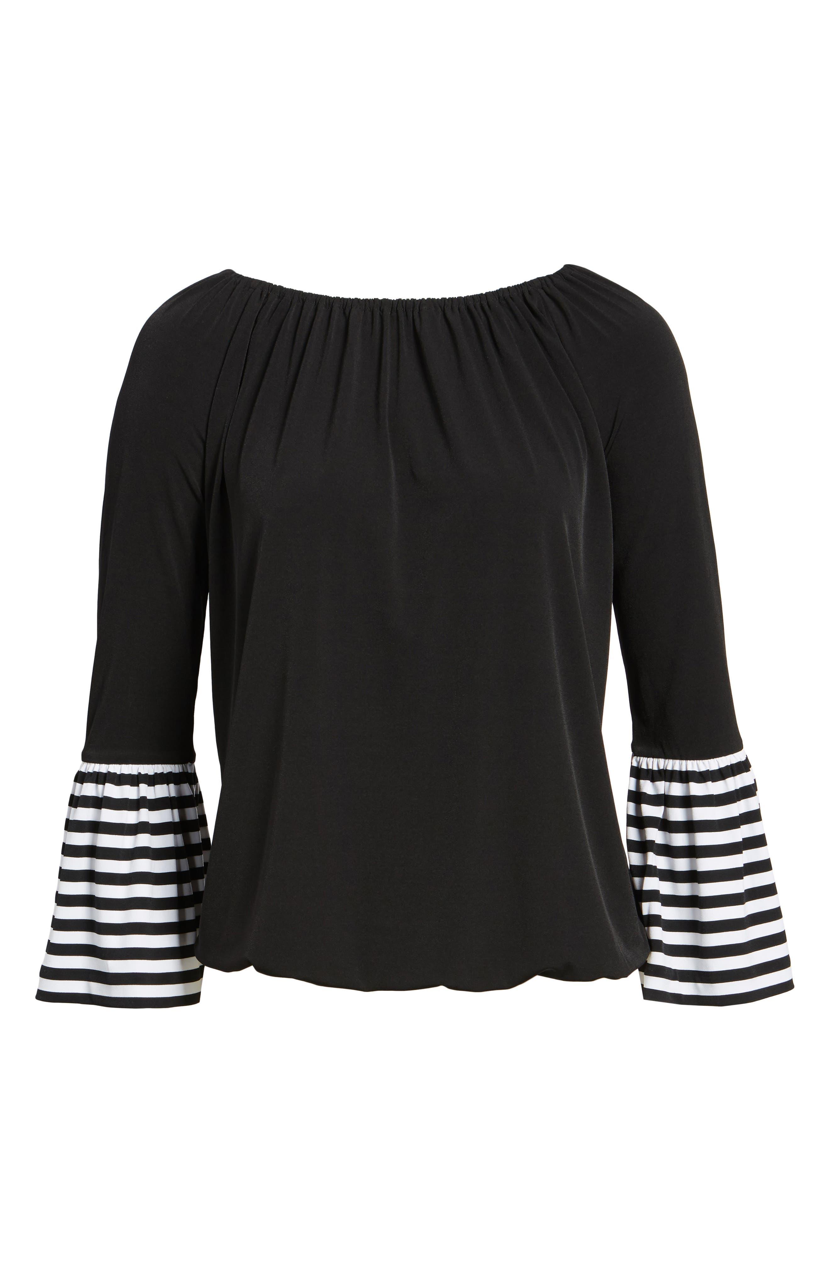 Stripe Cuff Top,                             Alternate thumbnail 6, color,                             Black