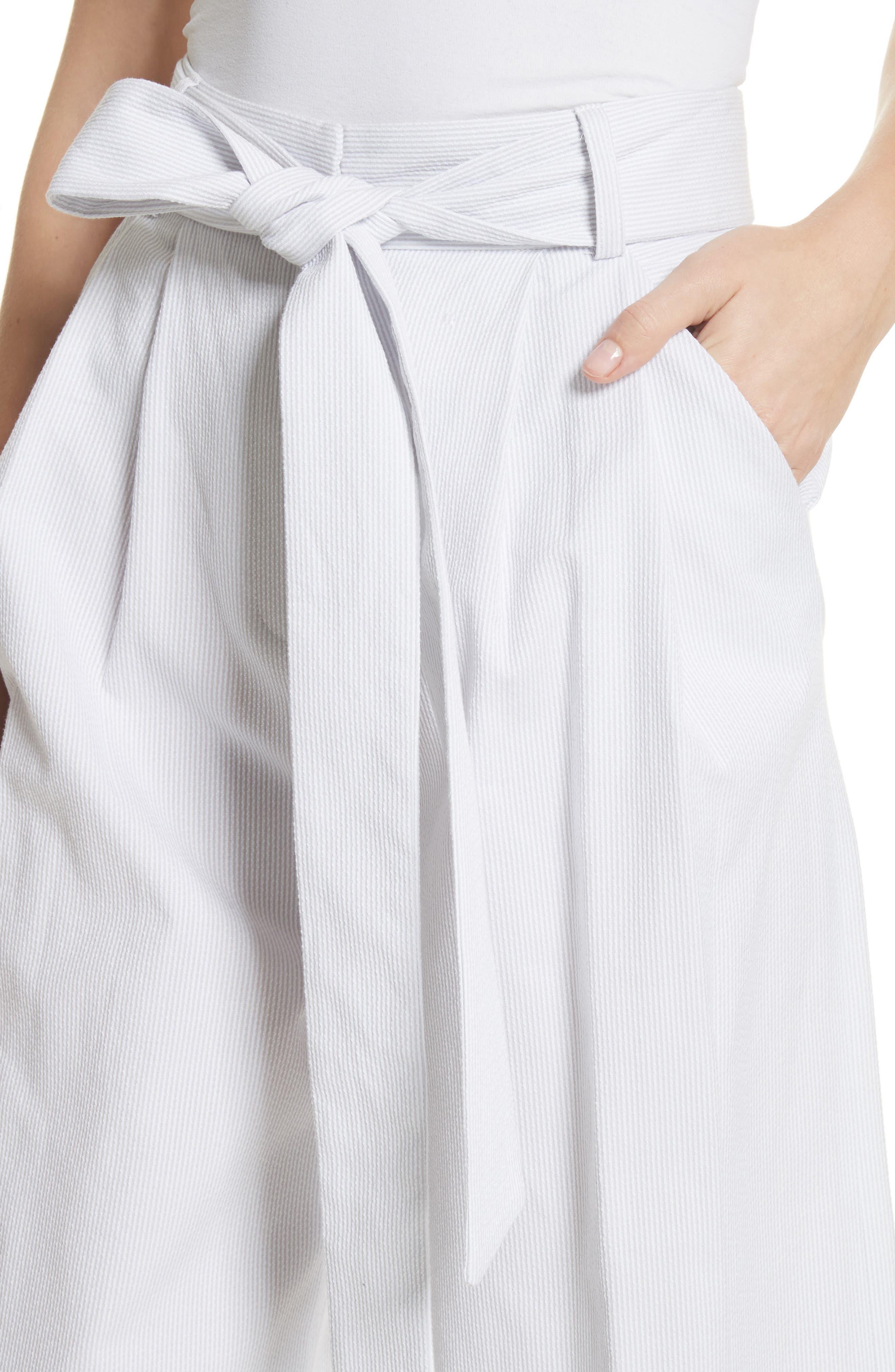 Natalie Crop Tie Waist Pants,                             Alternate thumbnail 4, color,                             Grey
