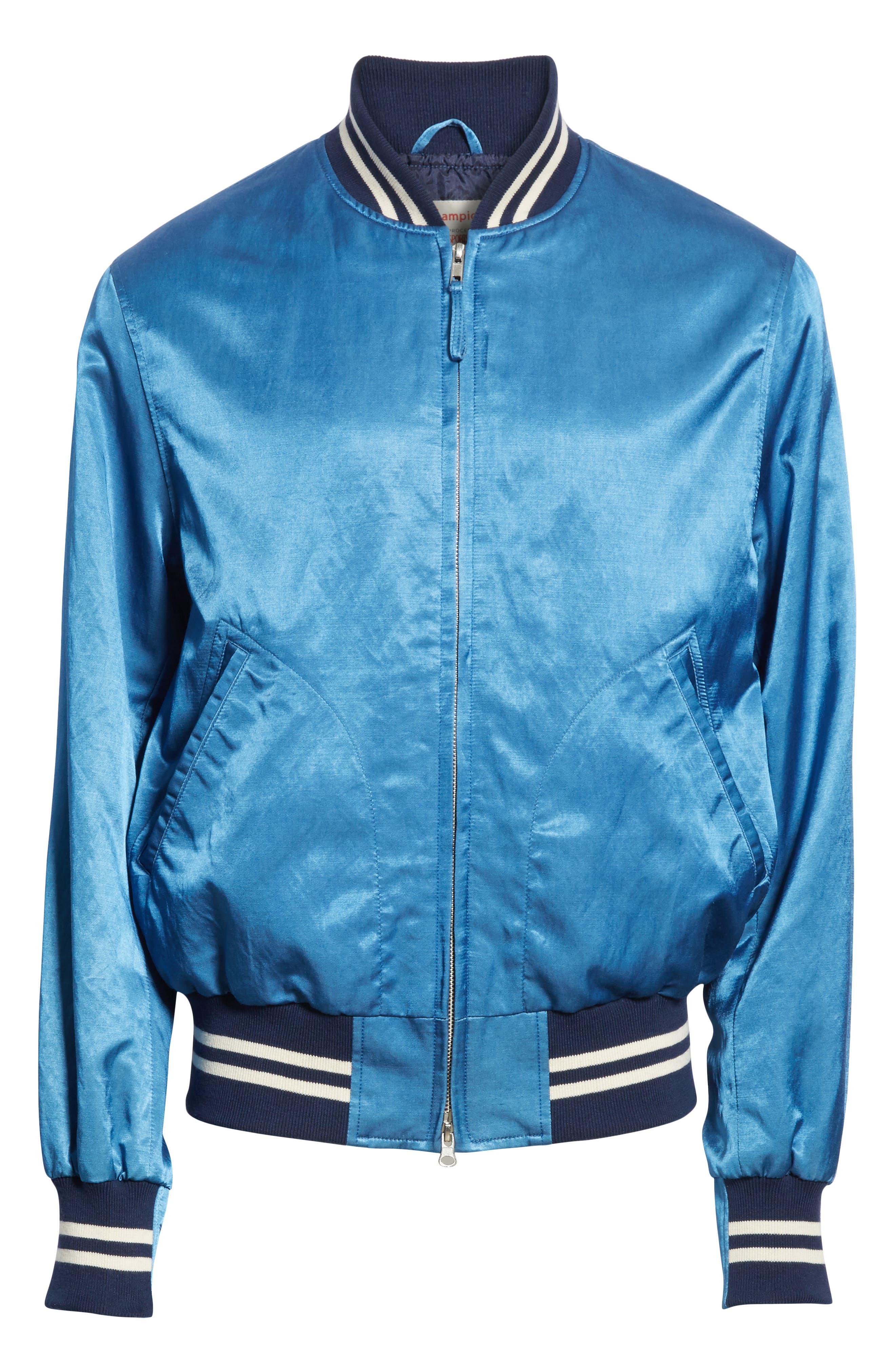 + Champion Bomber Jacket,                             Alternate thumbnail 6, color,                             Indigo