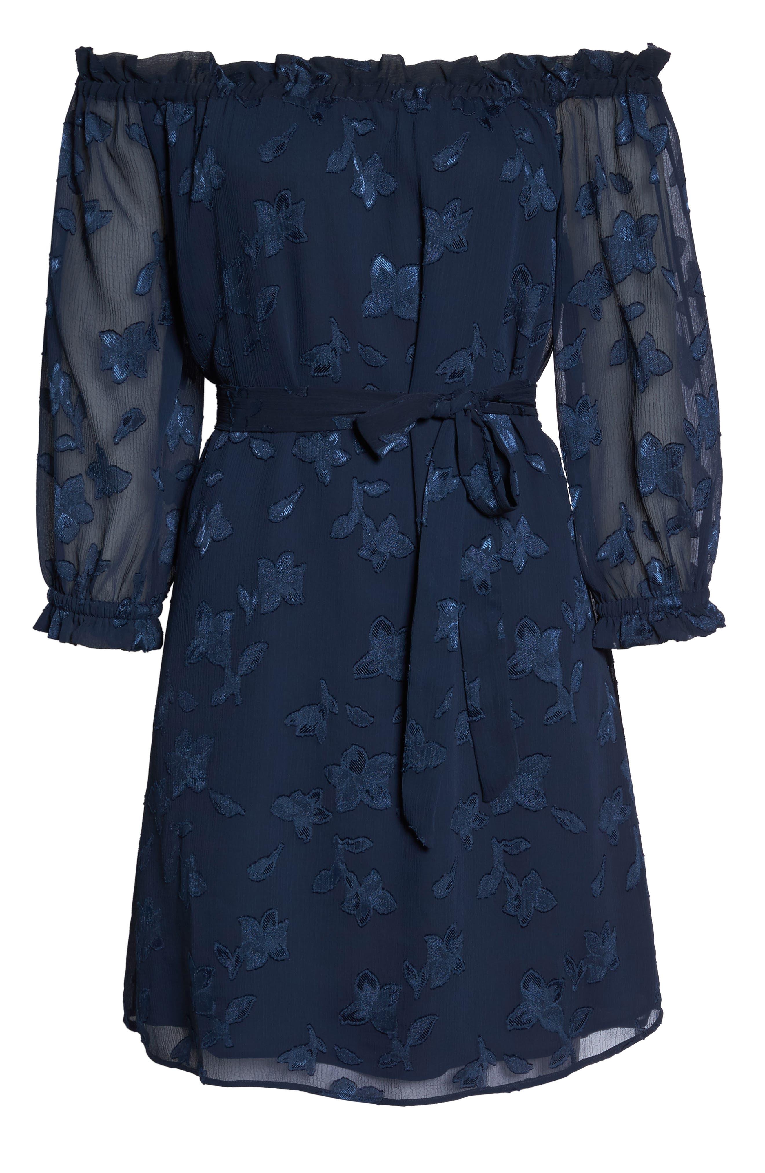 Off the Shoulder Lace Dress,                             Alternate thumbnail 6, color,                             Navy
