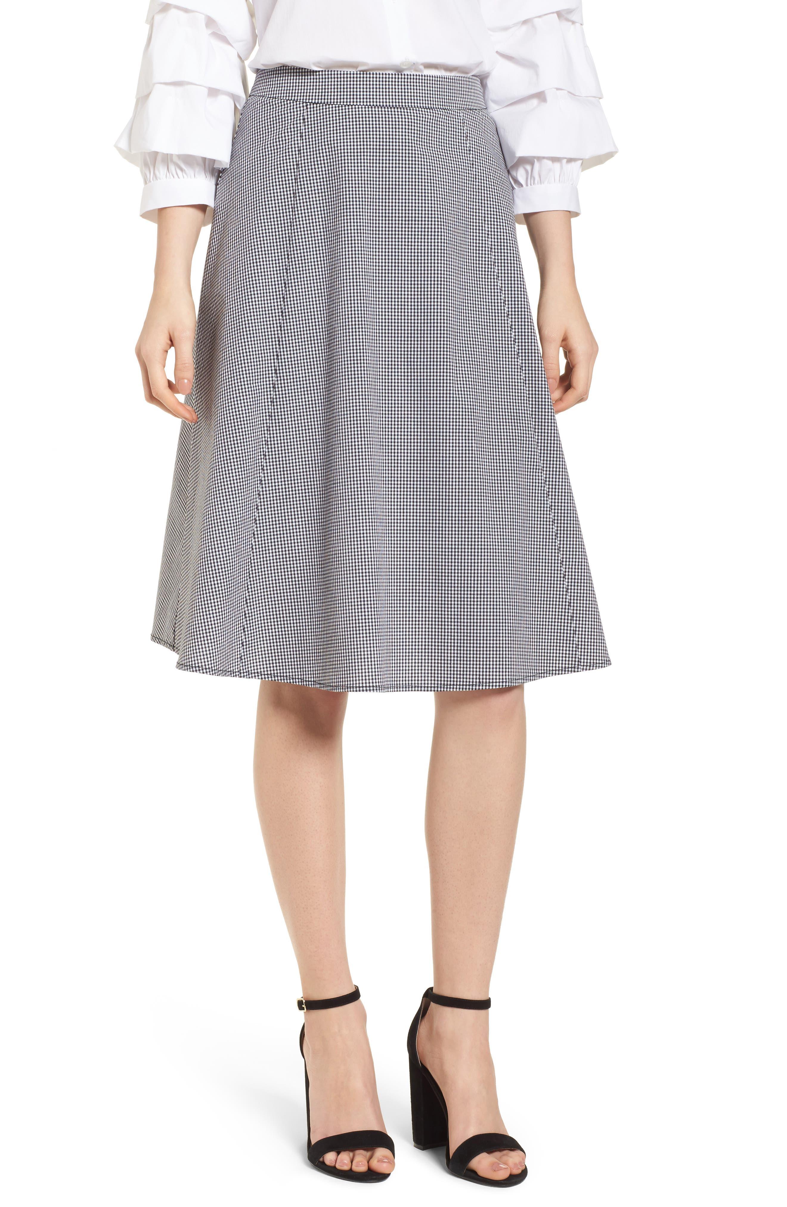 Gingham A-Line Skirt,                             Main thumbnail 1, color,                             Black/ White