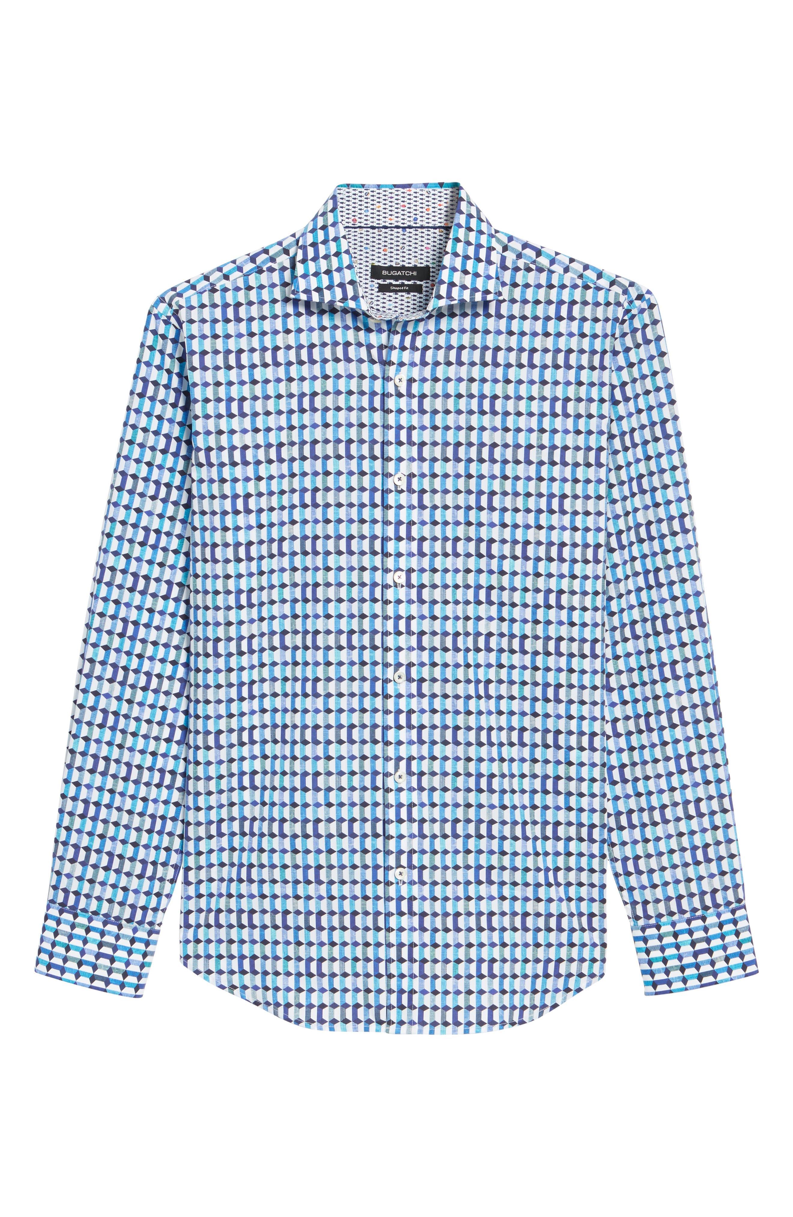 Shaped Fit Geo Print Sport Shirt,                             Alternate thumbnail 6, color,                             Turquoise