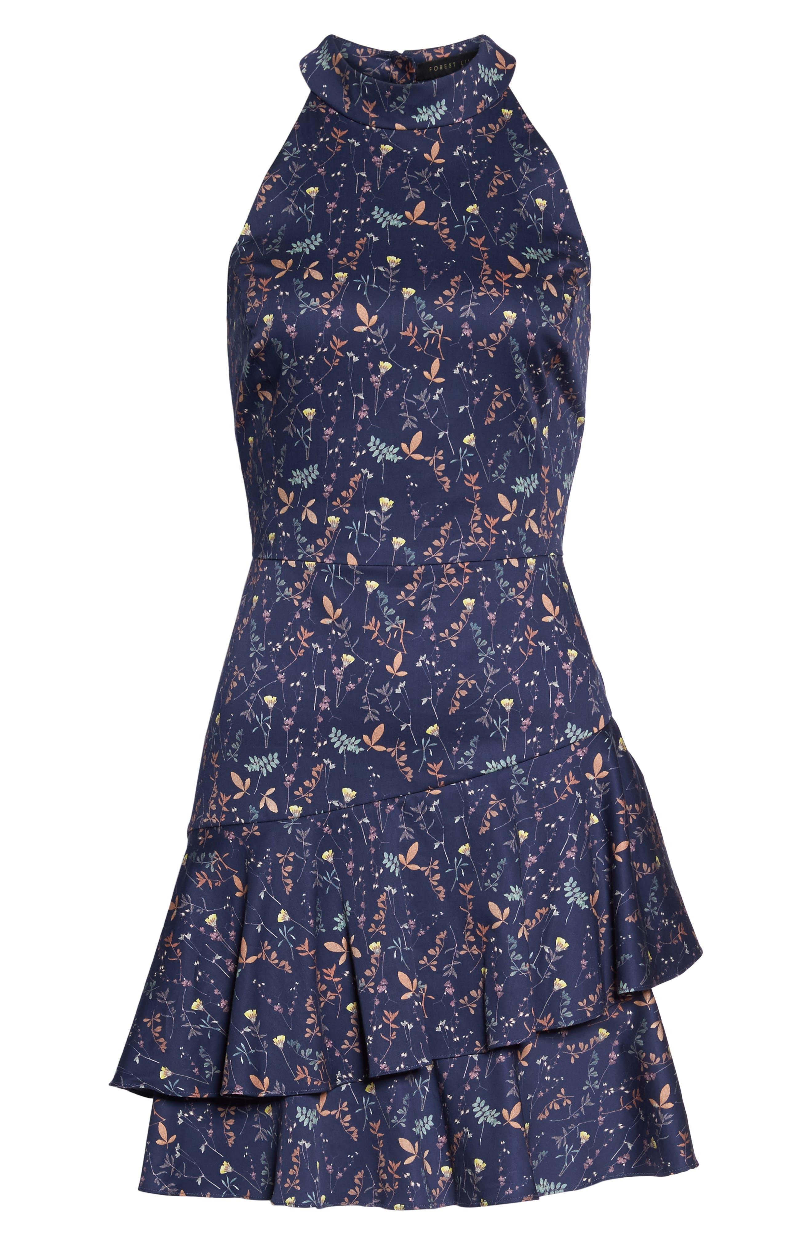 Halter Fit & Flare Dress,                             Alternate thumbnail 6, color,                             Eclipse