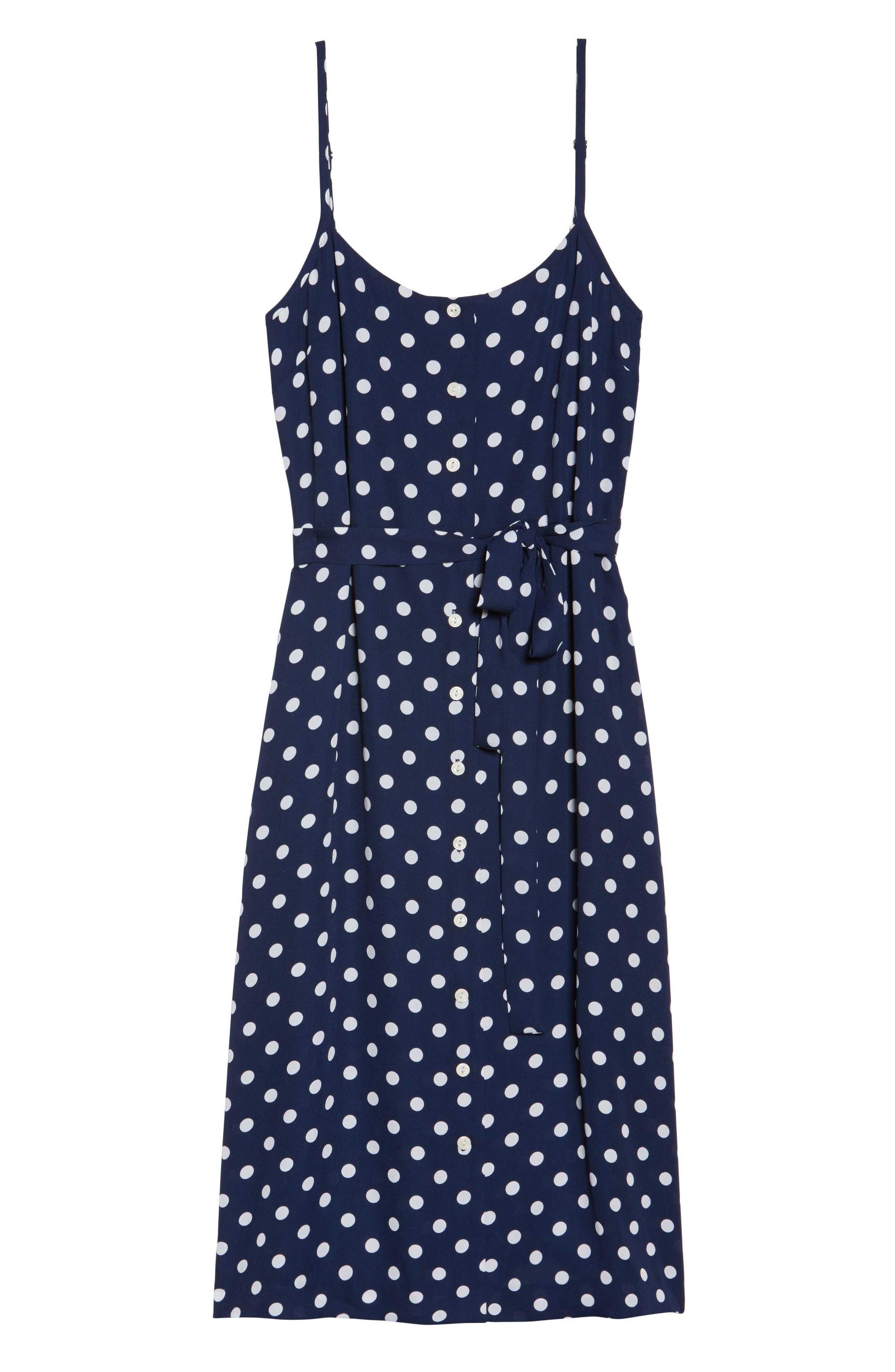 Flower Frolicking Midi Dress,                             Alternate thumbnail 7, color,                             Navy Polka Dot