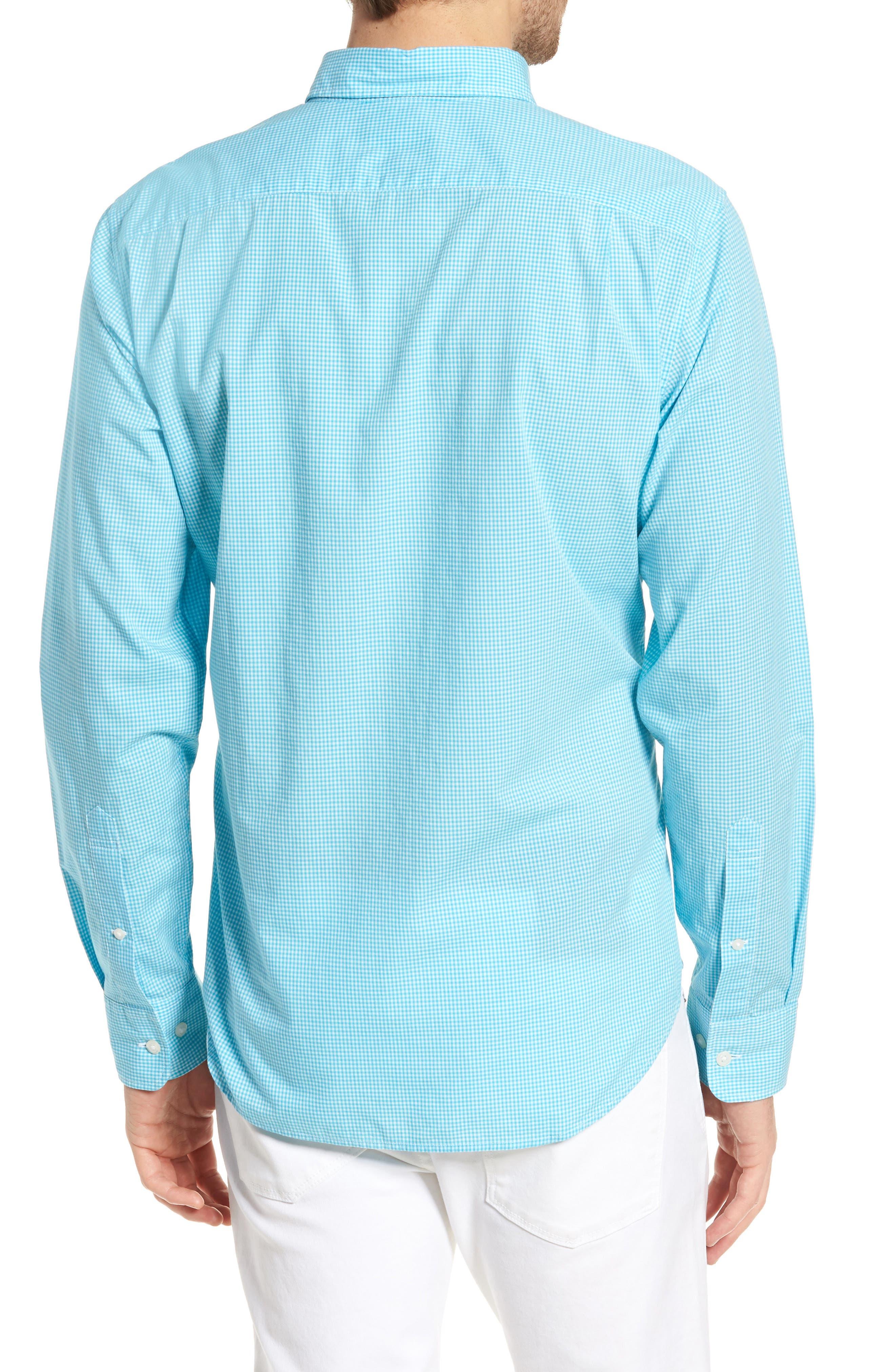 Slim Fit Summerweight Check Sport Shirt,                             Alternate thumbnail 3, color,                             Bondi Gingham - Scuba Blue