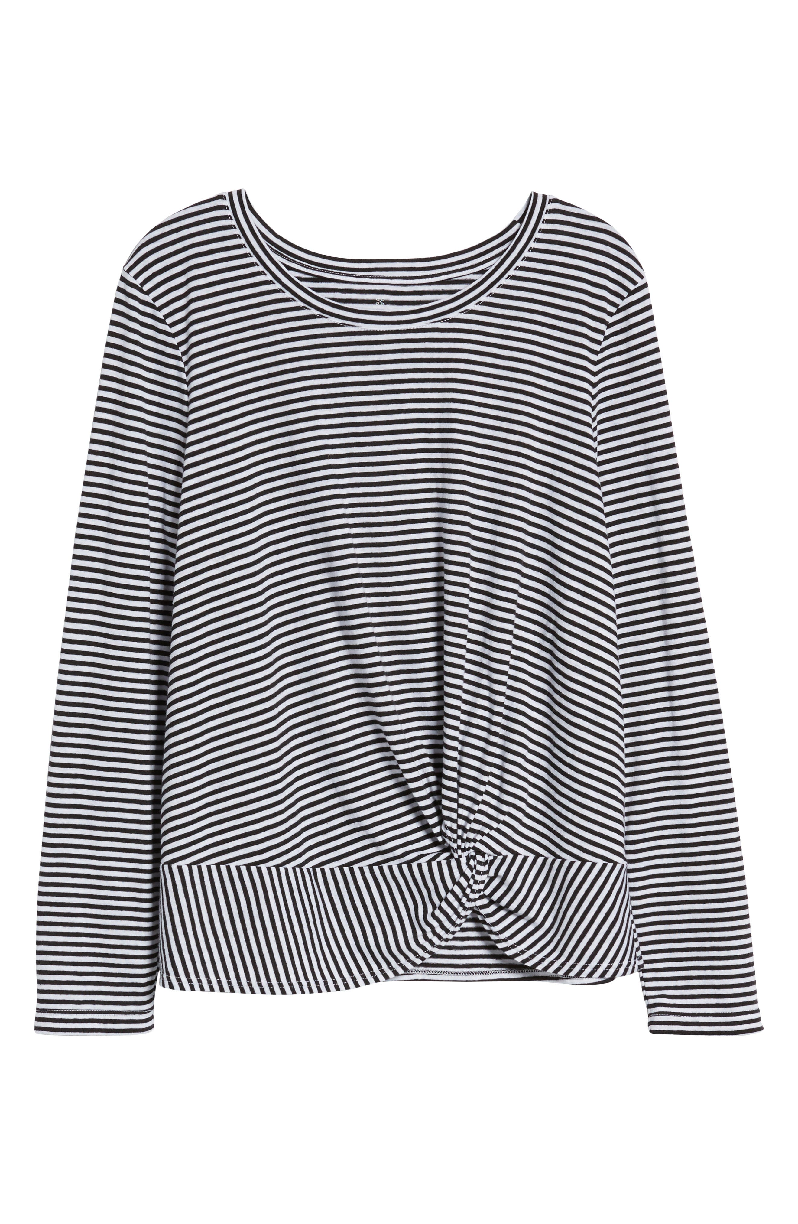 Long Sleeve Front Knot Tee,                             Alternate thumbnail 6, color,                             Black- White Even Stripe