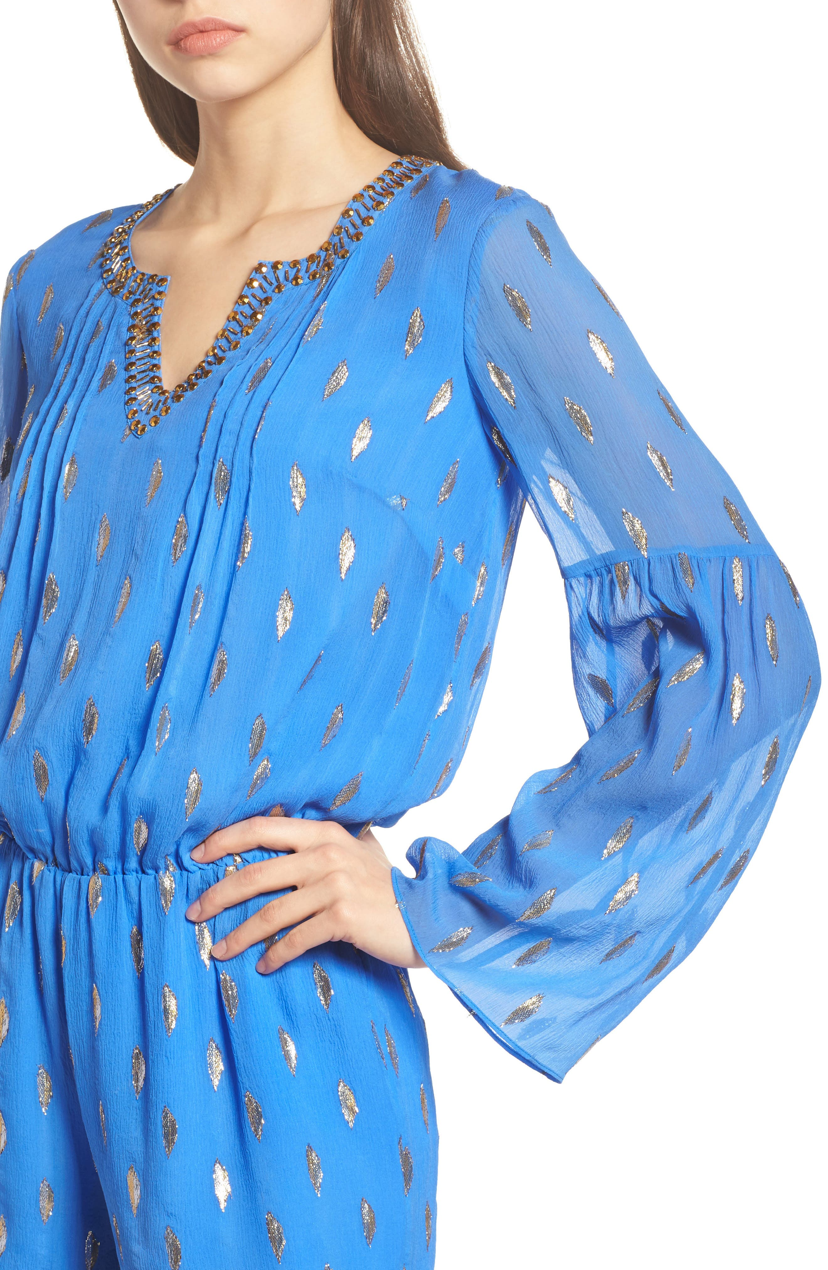 Ariele Silk Romper,                             Alternate thumbnail 4, color,                             Blue Diamond Metallic Clip