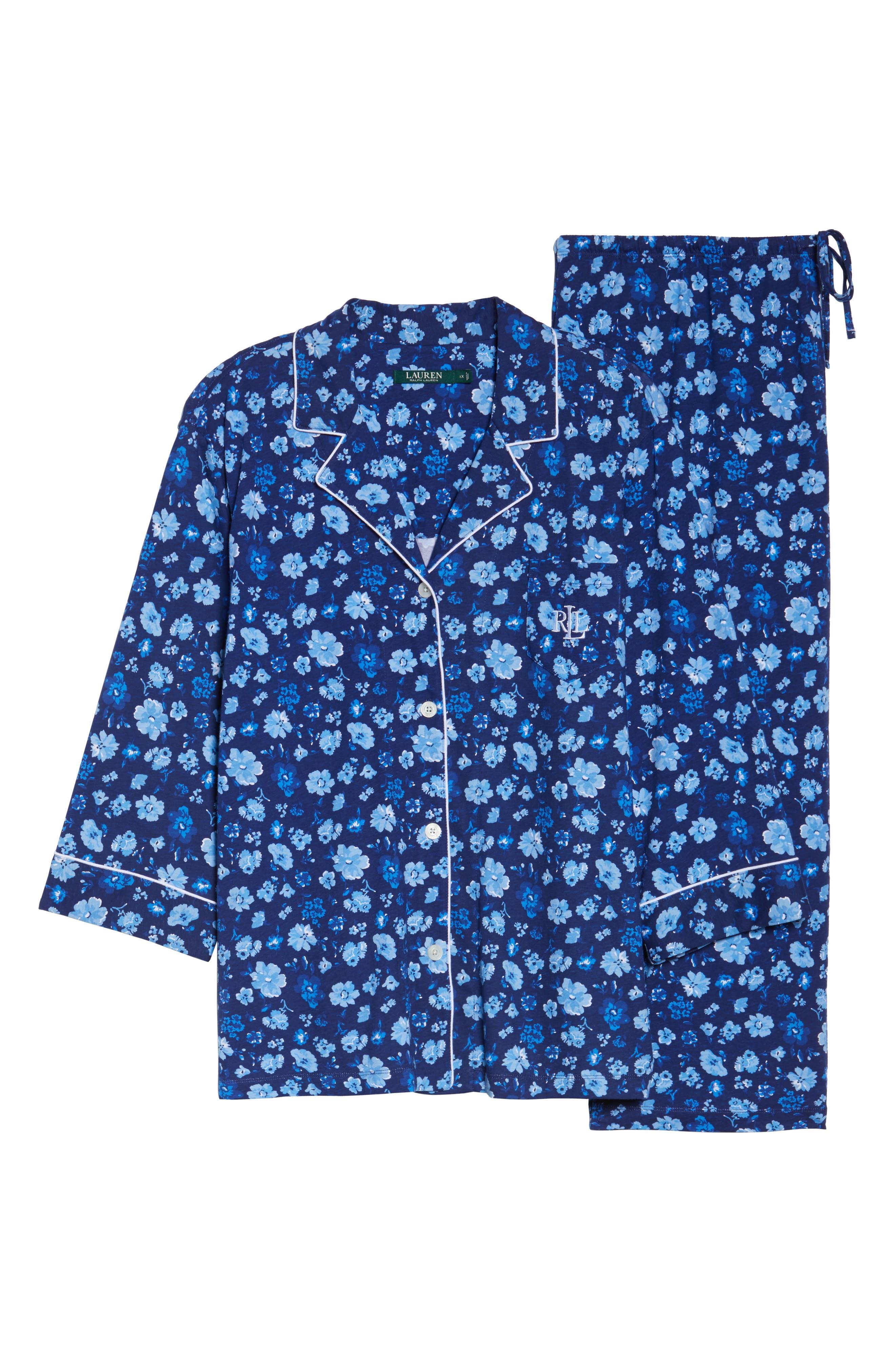 Crop Pajamas,                             Alternate thumbnail 4, color,                             Blue Floral