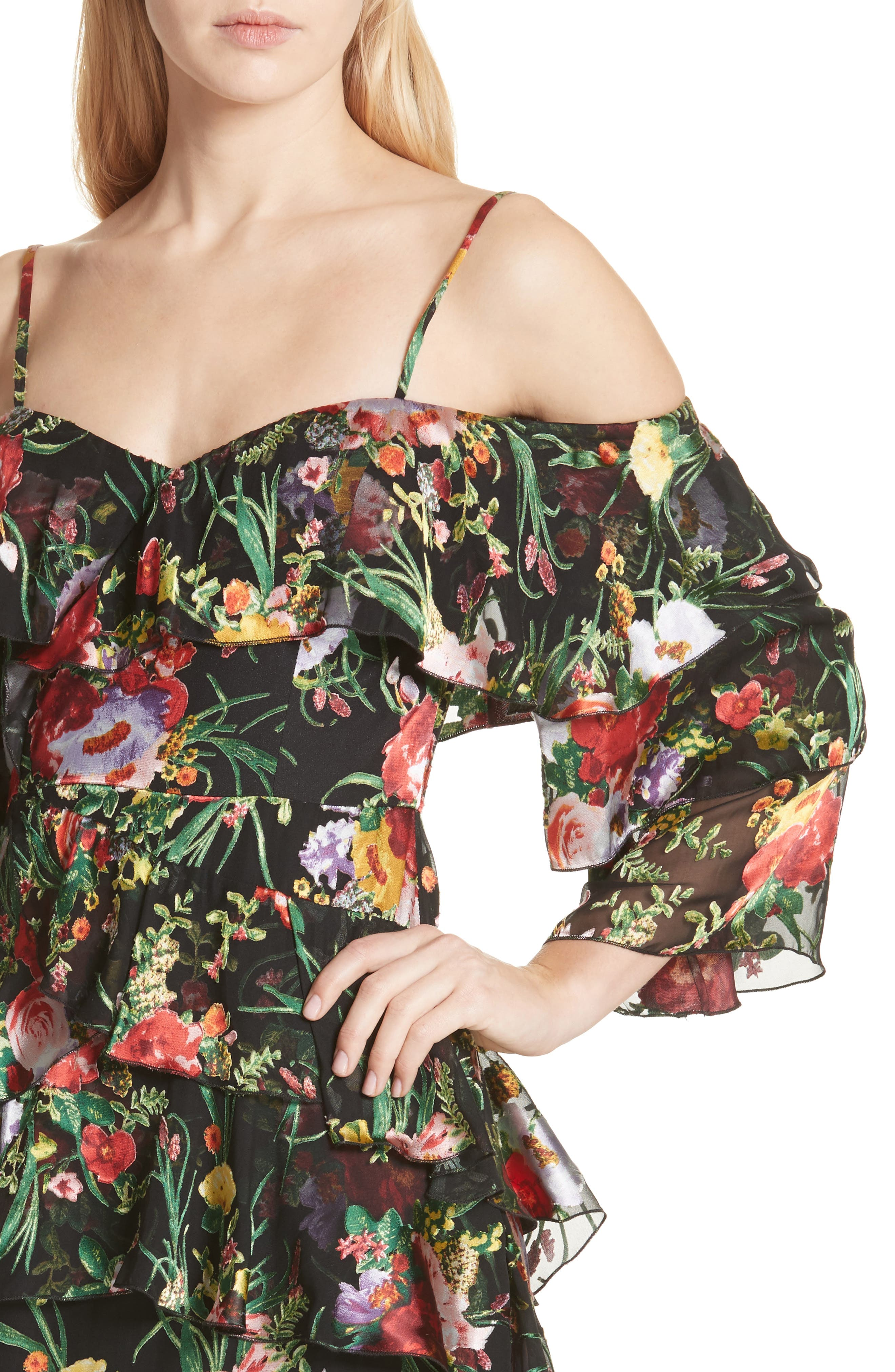 Florentina Off the Shoulder Dress,                             Alternate thumbnail 4, color,                             Blooming Bouquet