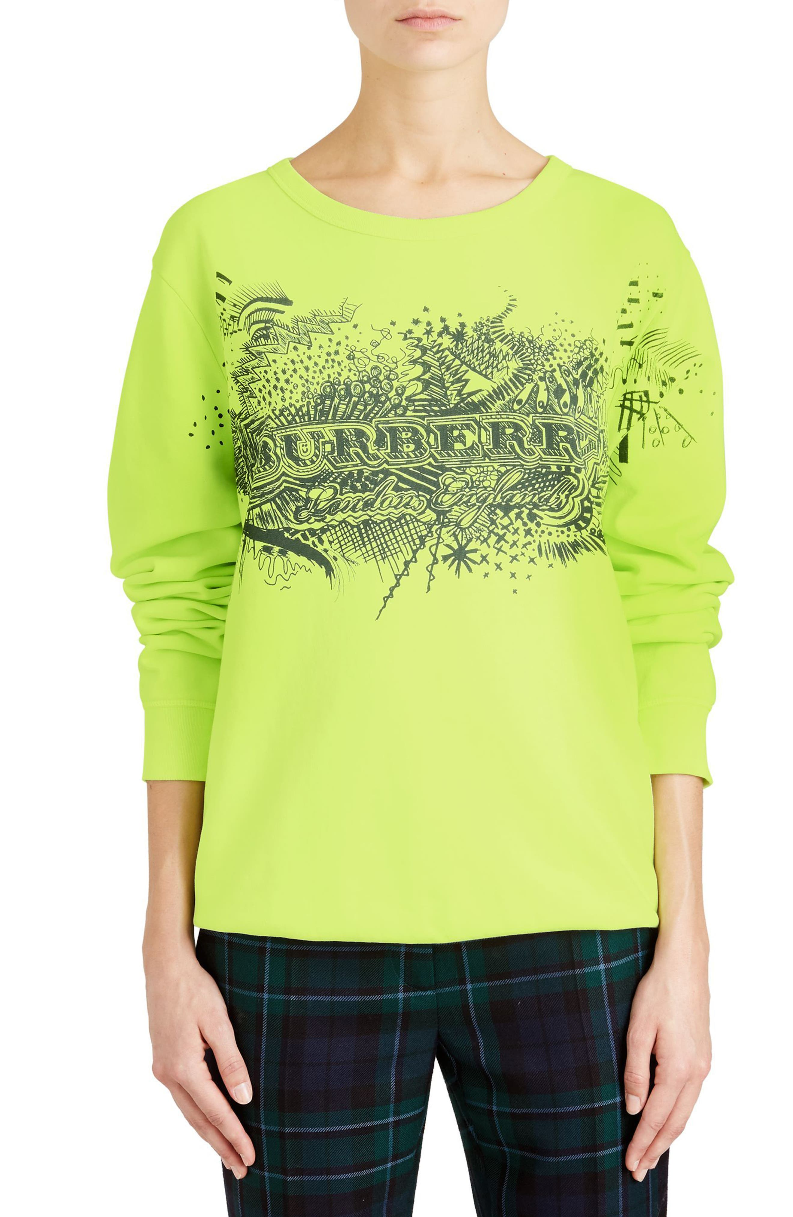 Sauer Doodle Print Cotton Sweatshirt,                         Main,                         color, Fluorescent Yellow