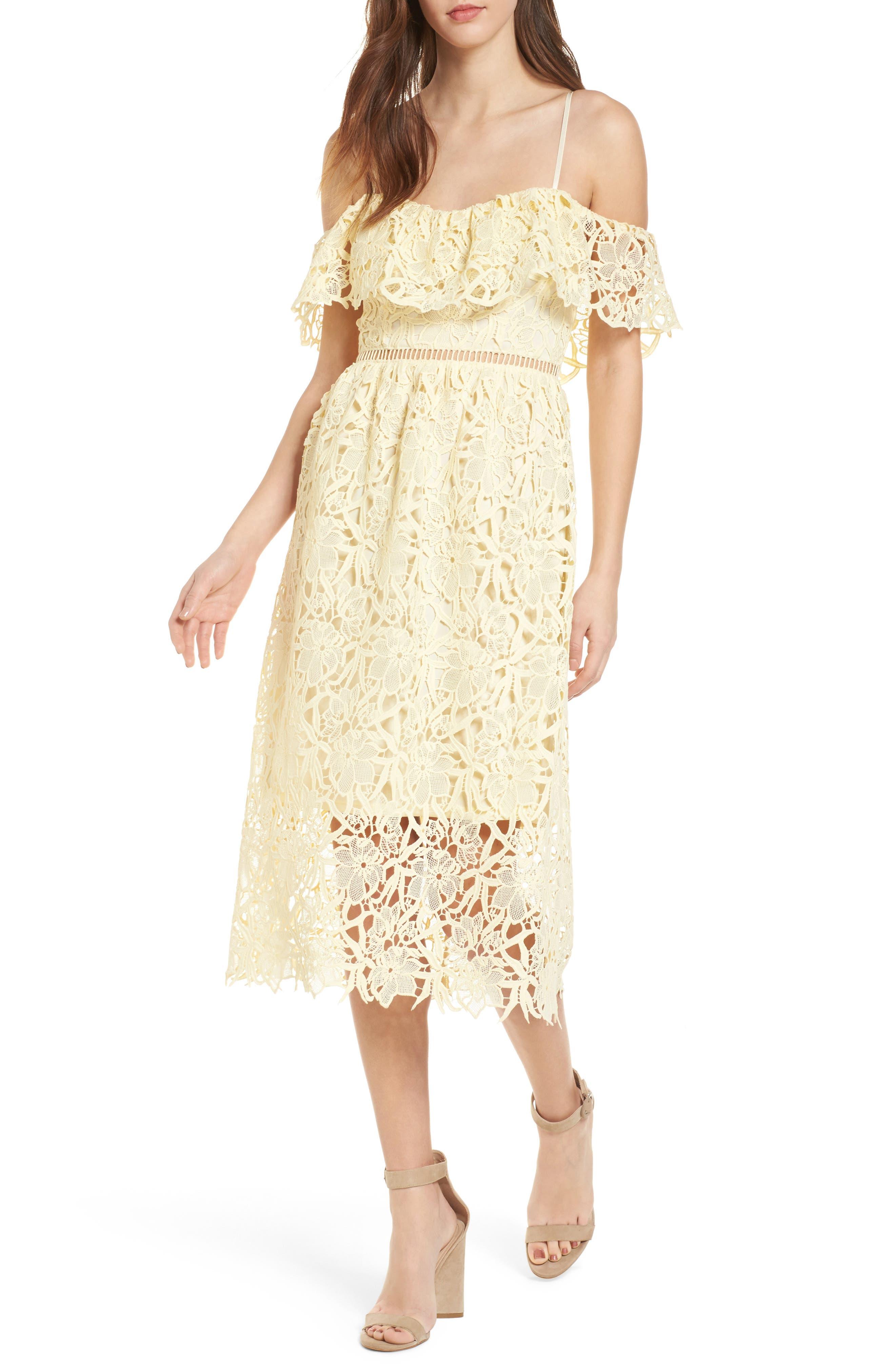 Lace Off the Shoulder Midi Dress,                         Main,                         color, Pale Yellow