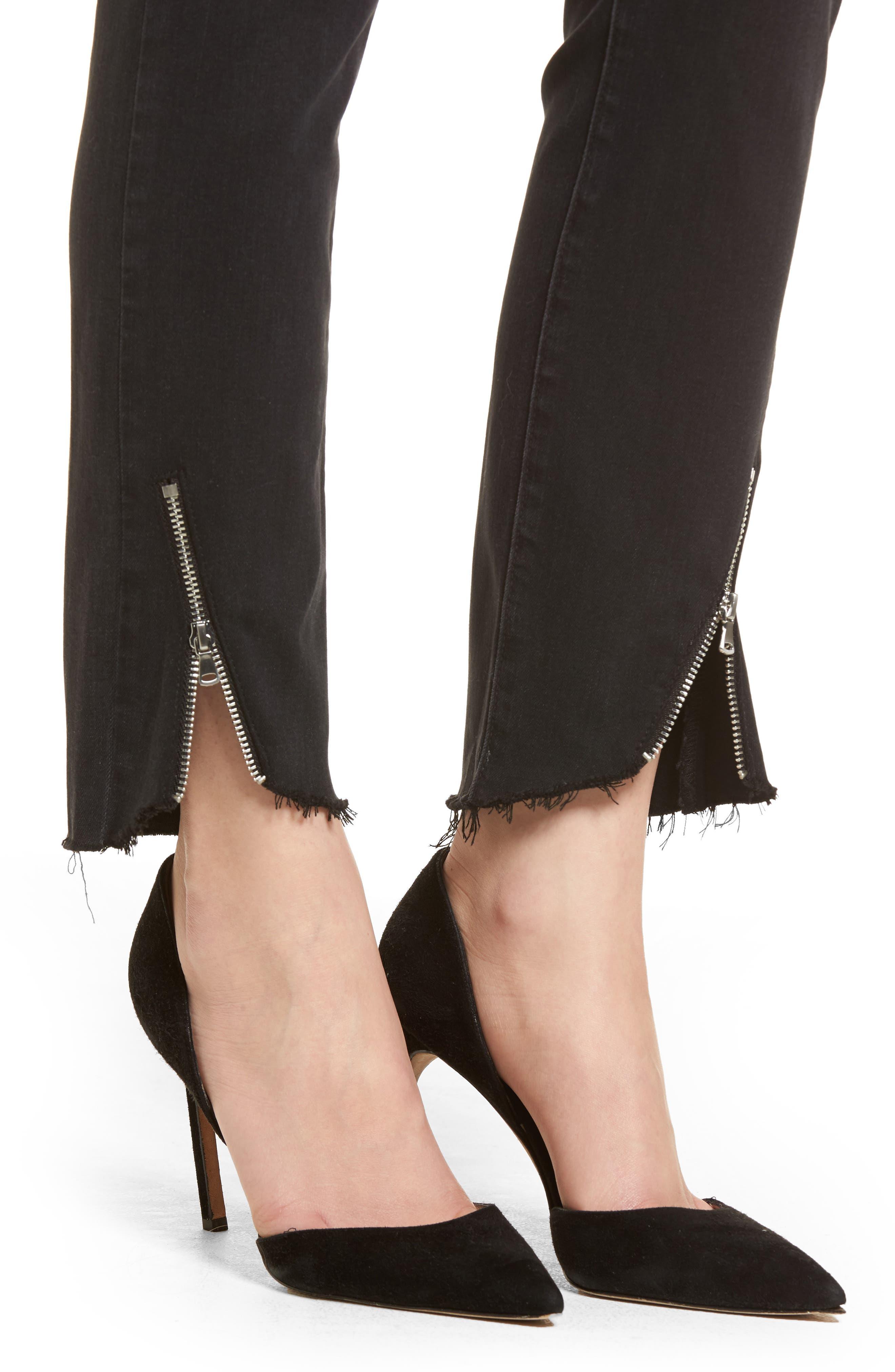 Transcend - Hoxton High Waist Ultra Skinny Jeans,                             Alternate thumbnail 4, color,                             Black Fog