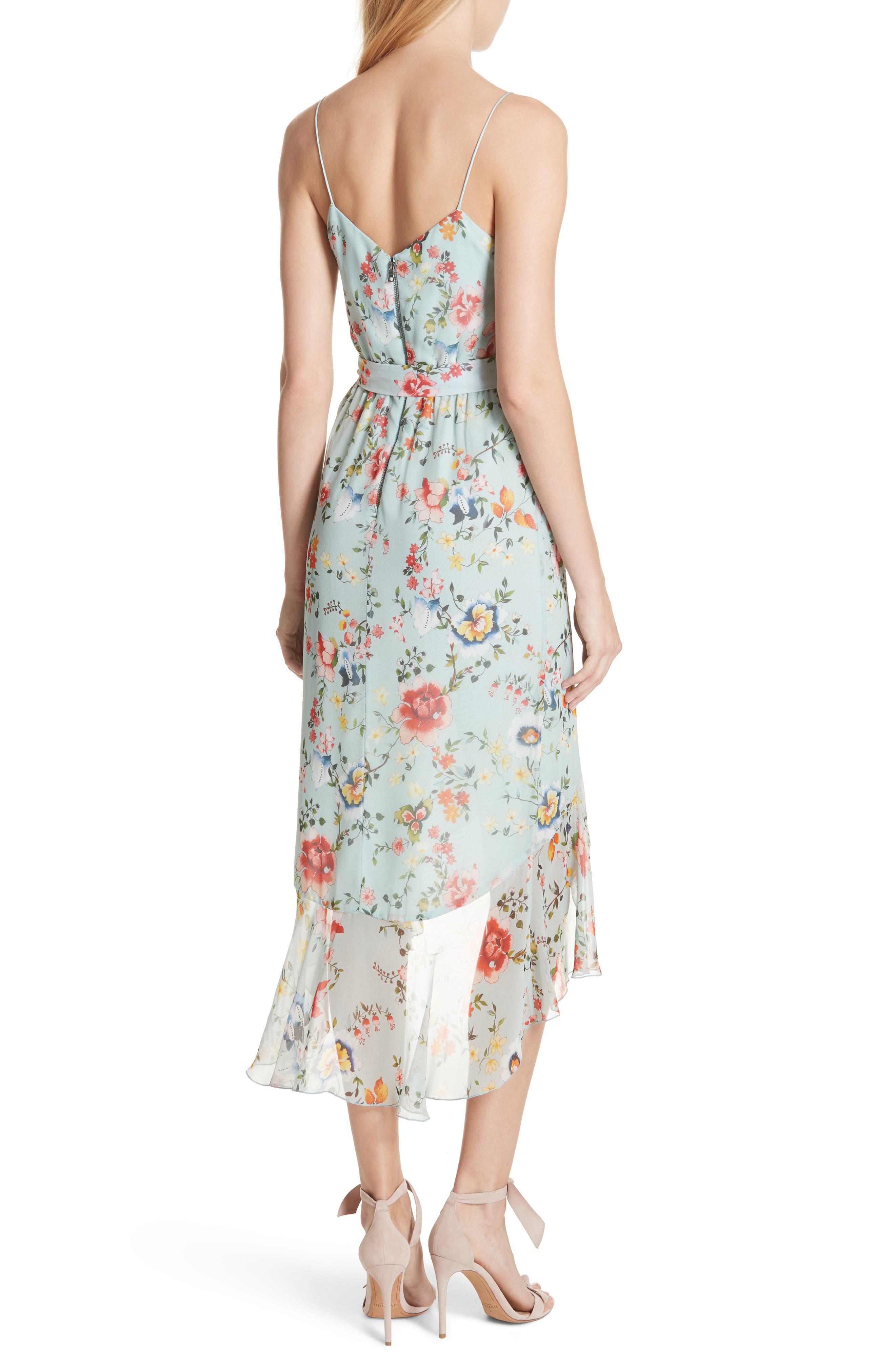 Mable Floral Silk Midi Dress,                             Alternate thumbnail 2, color,                             Floral Soiree-Dusty Aqua