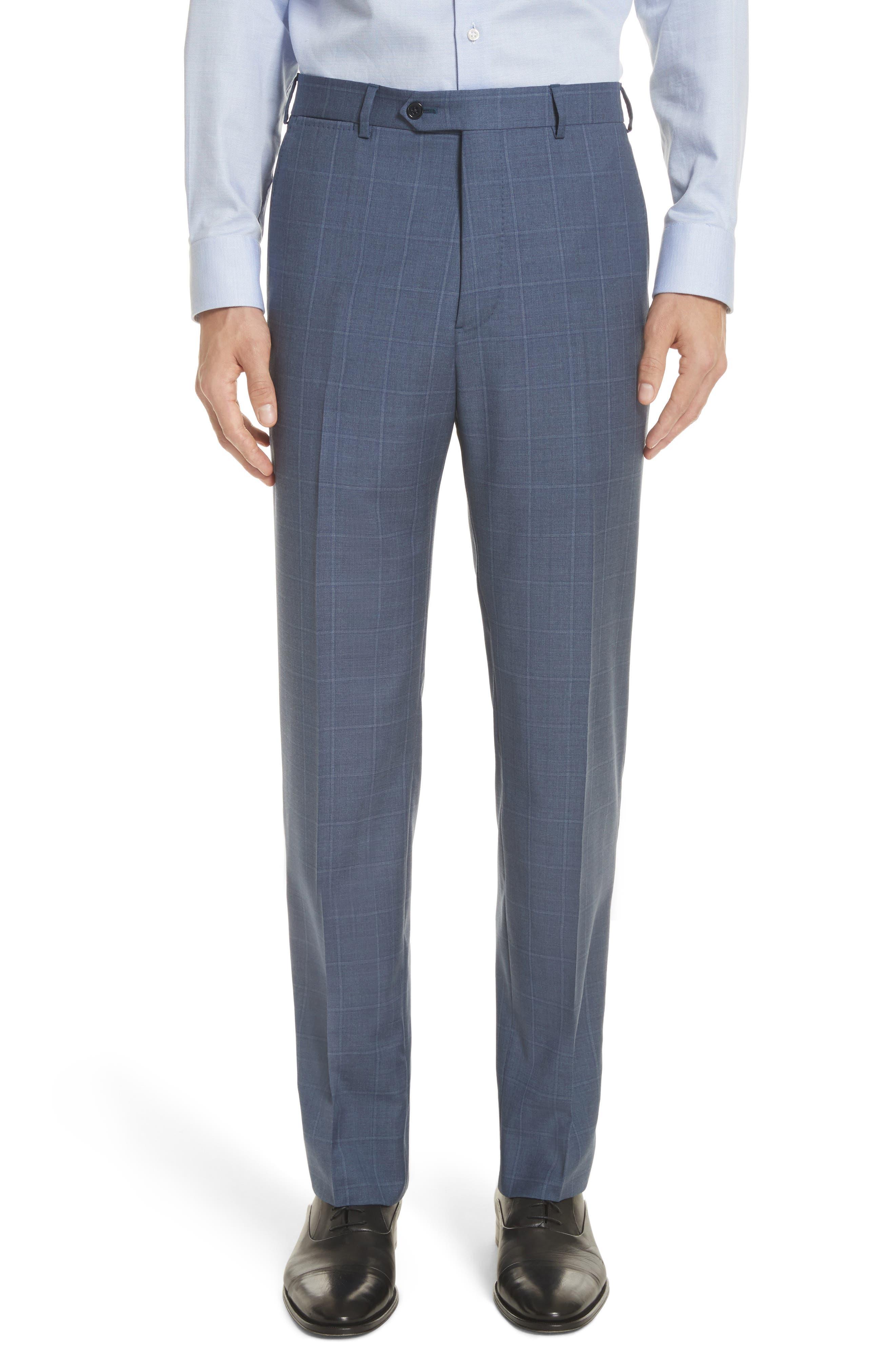 G Line Trim Fit Windowpane Wool Suit,                             Alternate thumbnail 6, color,                             Blue