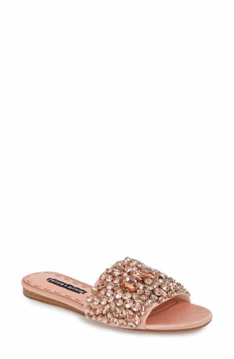 Alice + Olivia Abbey Crystal Embellished Slide Sandal (Women)
