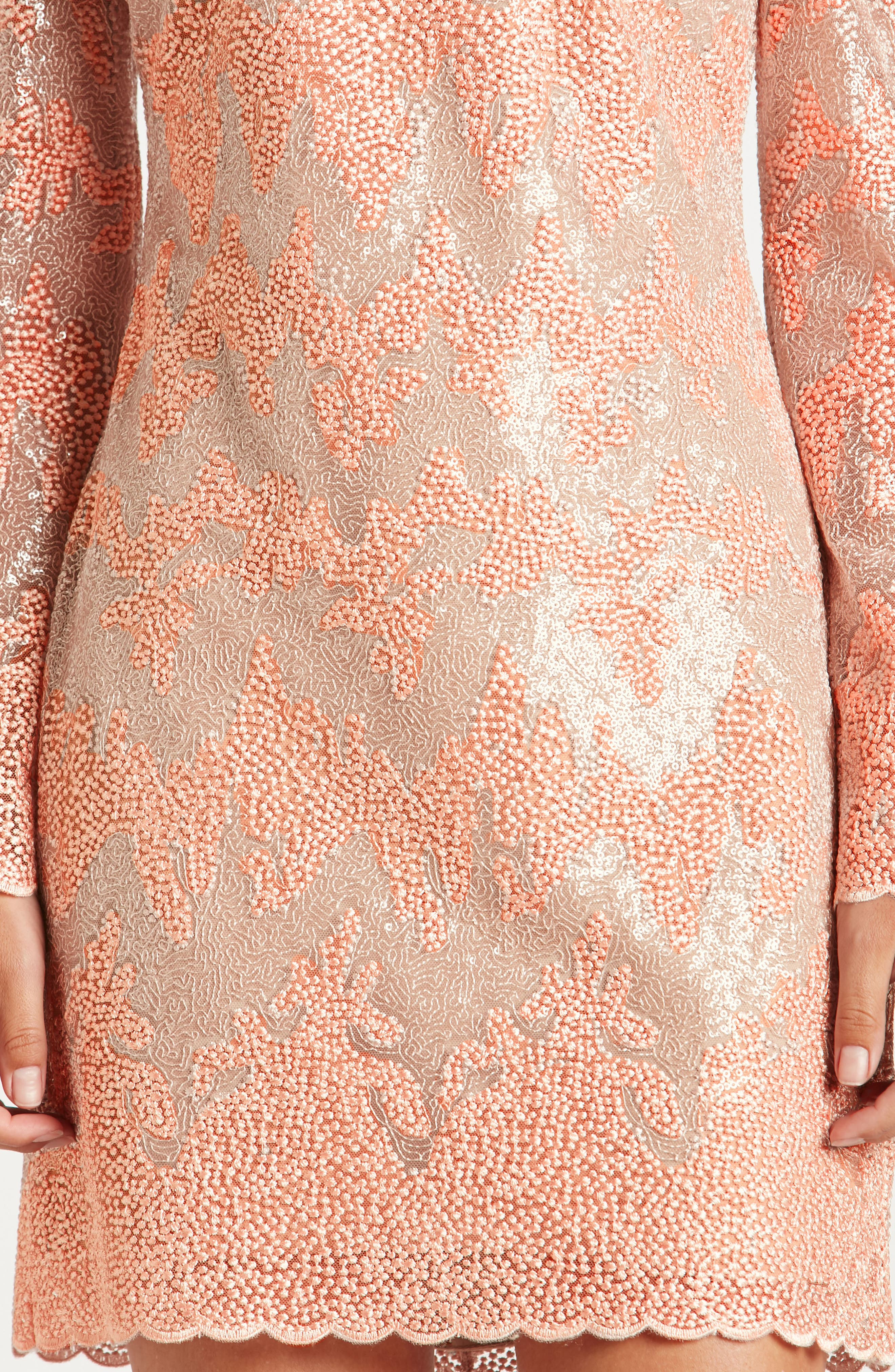 Aubry Sequin Embellished Shift Dress,                             Alternate thumbnail 4, color,                             Blush